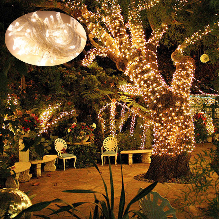 Led String Lights Warm White Outdoor : 20m-200m LED String Fairy Light Christmas Tree Outdoor Wedding Party Warm White