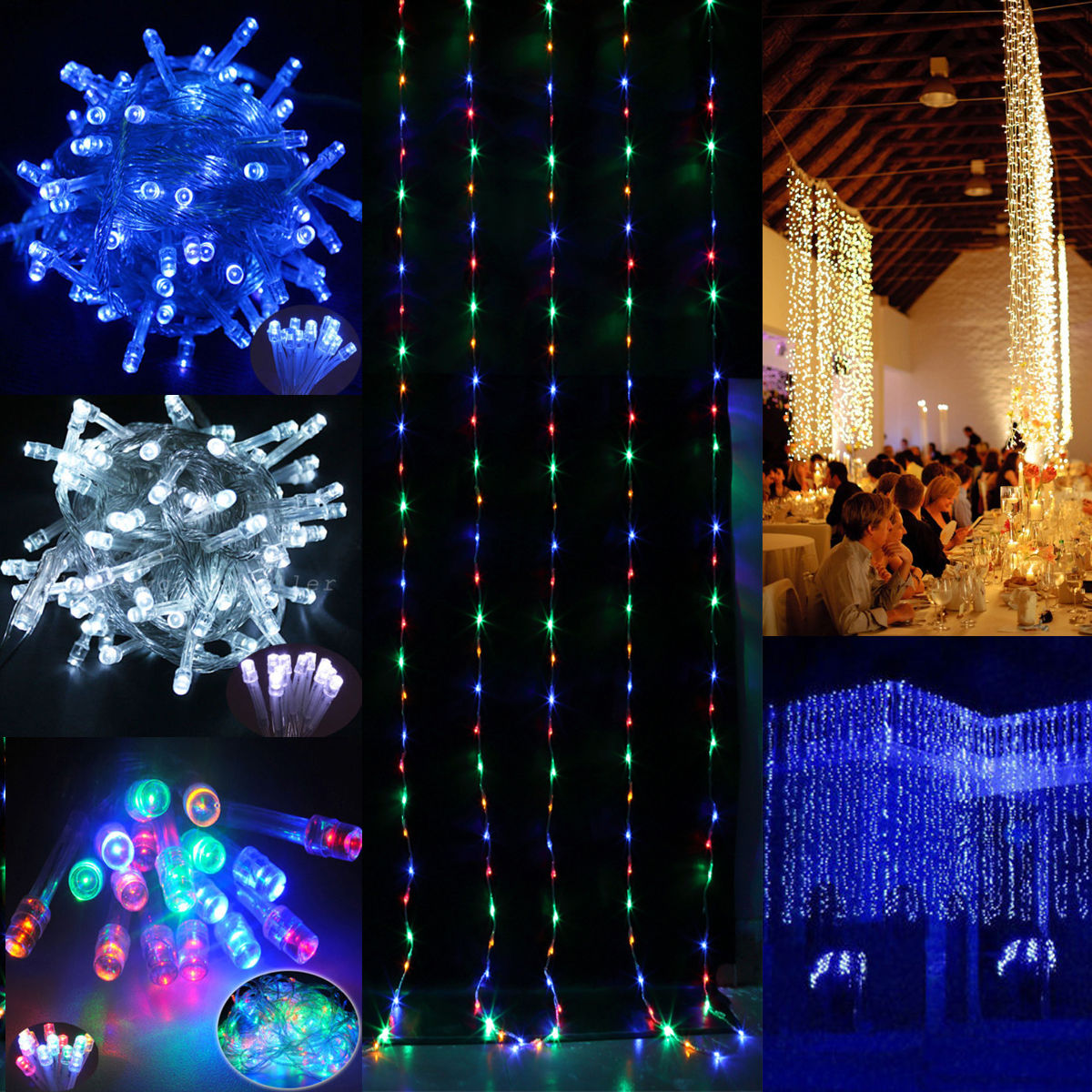 Led Outdoor Party String Lights: 30M/100M/200M LED Fairy String Light Outdoor Wedding Party