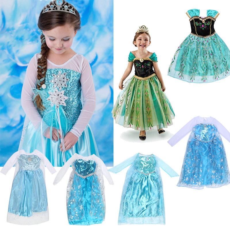 m dchen kost me party kleid cosplay elsa kinder k nigin dresses t ll eisk nigin ebay. Black Bedroom Furniture Sets. Home Design Ideas