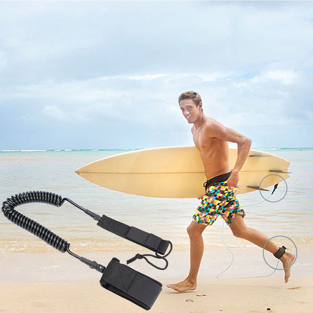 black surfboard leash 11ft coiled stand up paddle board leash sup ebay. Black Bedroom Furniture Sets. Home Design Ideas