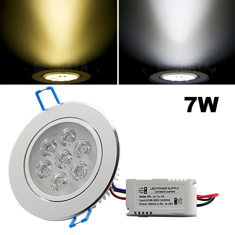 6x 3w 7w 12w Led Ceiling Downlights Recessed Round