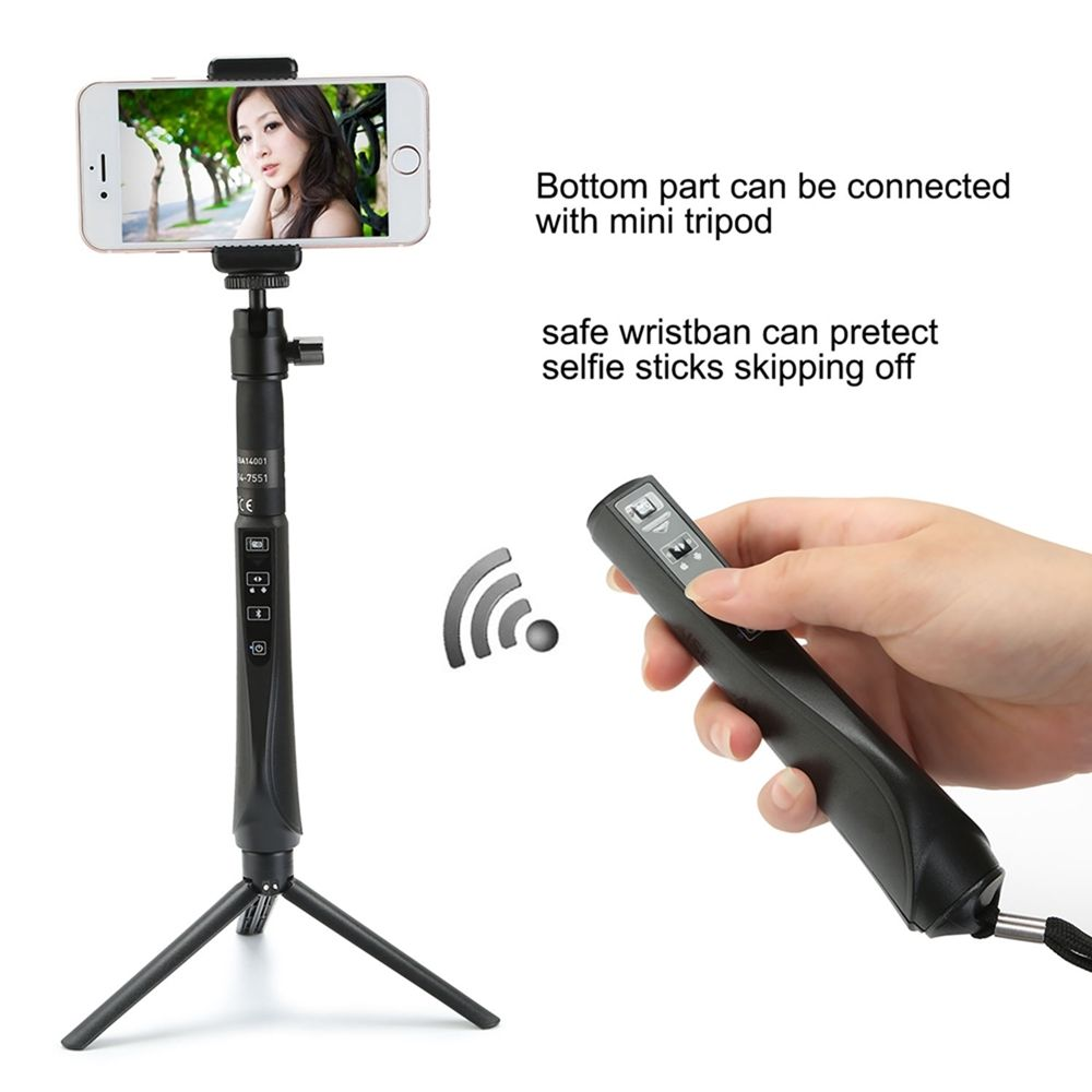 bluetooth wireless selfie stick pole triple stand extendable monopod wi. Black Bedroom Furniture Sets. Home Design Ideas