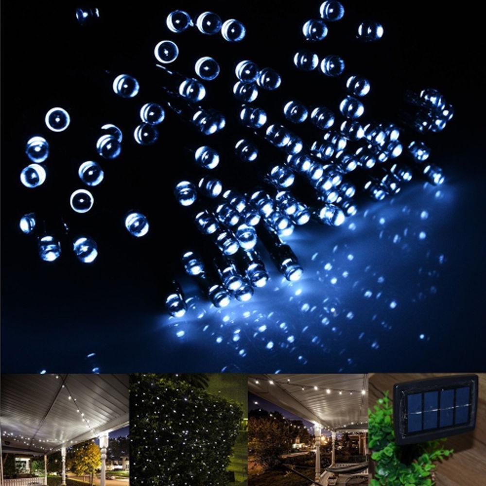 100 200 led solar powered panel bright fairy string lights. Black Bedroom Furniture Sets. Home Design Ideas