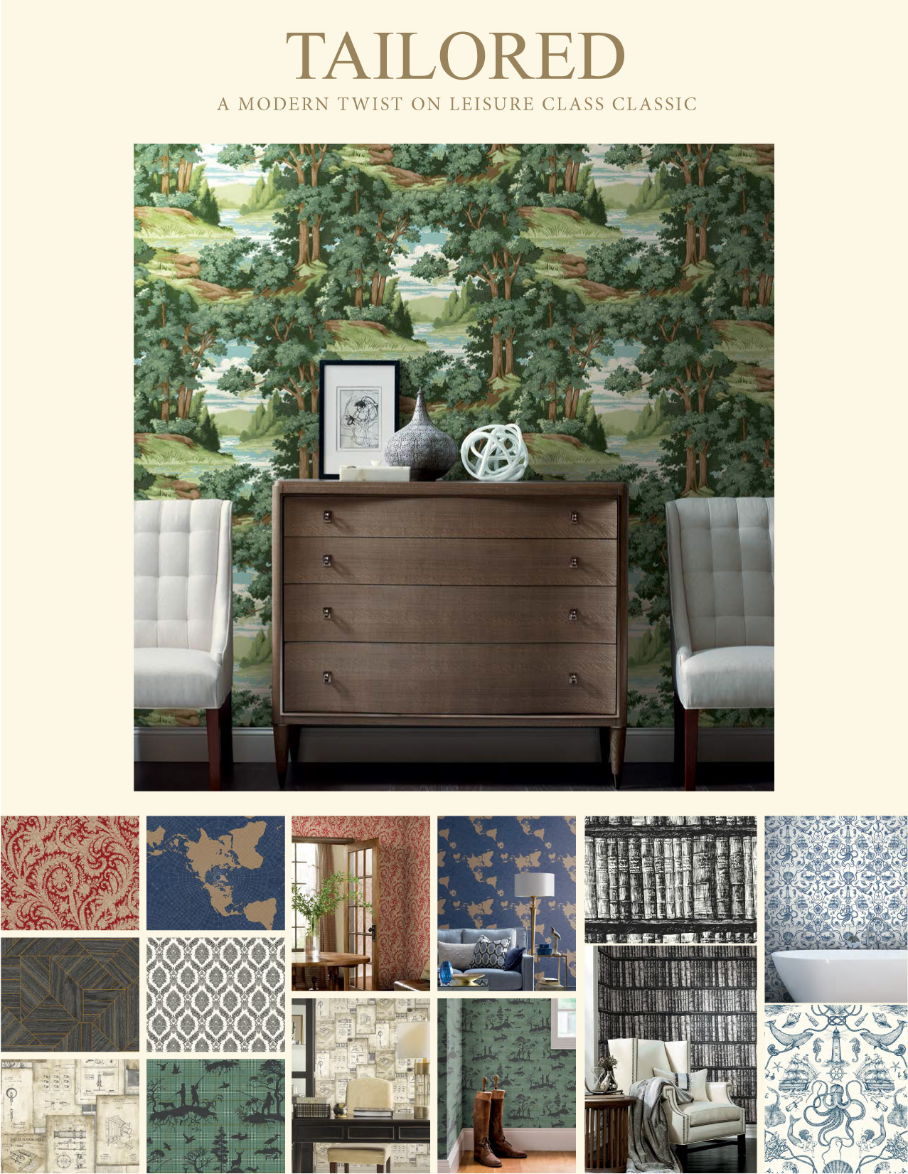 York WALLCOVERINGS HO3362 Deep Sea Toile Papier Peint Tan Tailored Collection