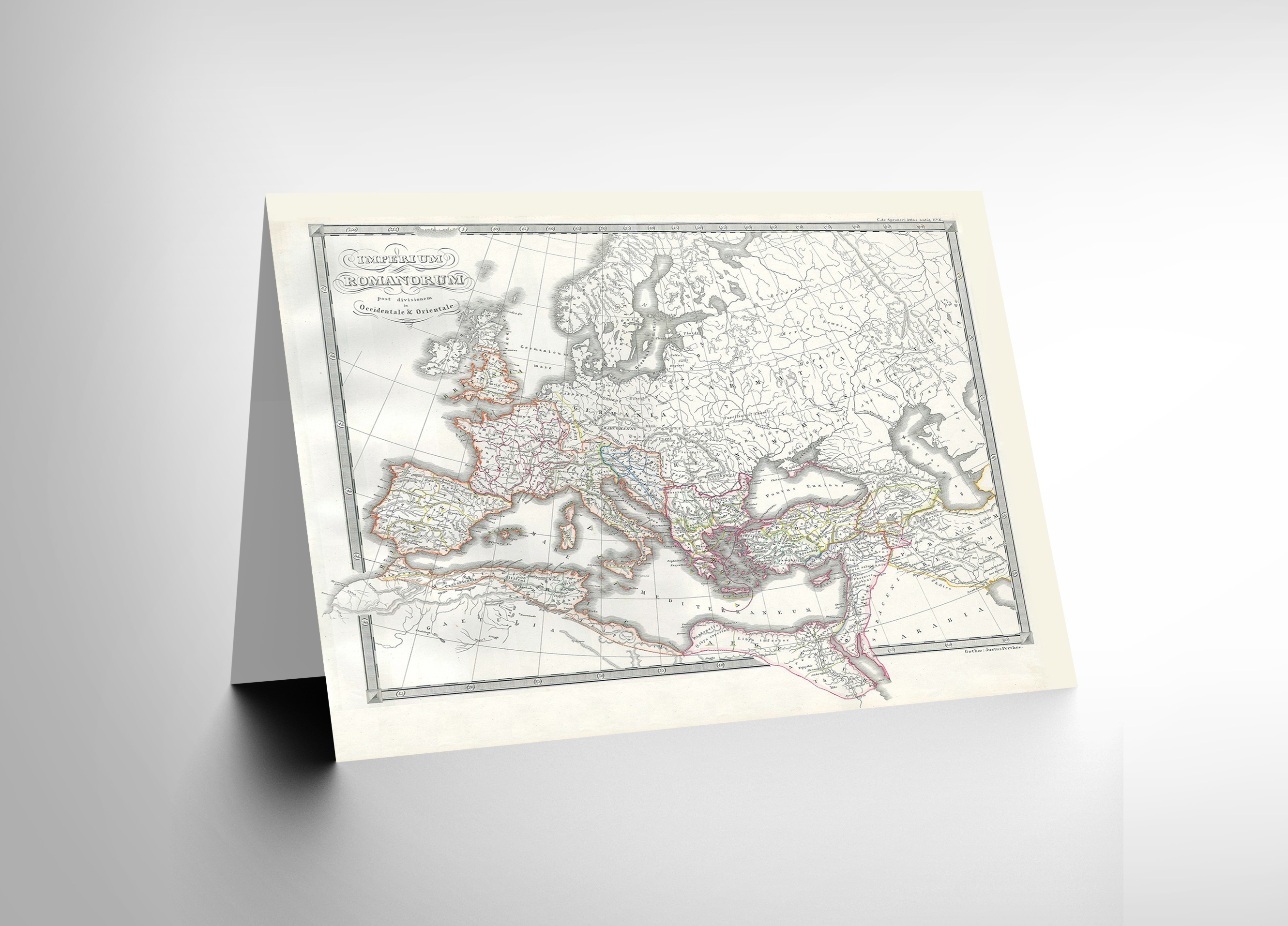 NEW 1850 MAP ROMAN EMPIRE DIVIDED EAST WEST ANCIENT ROME