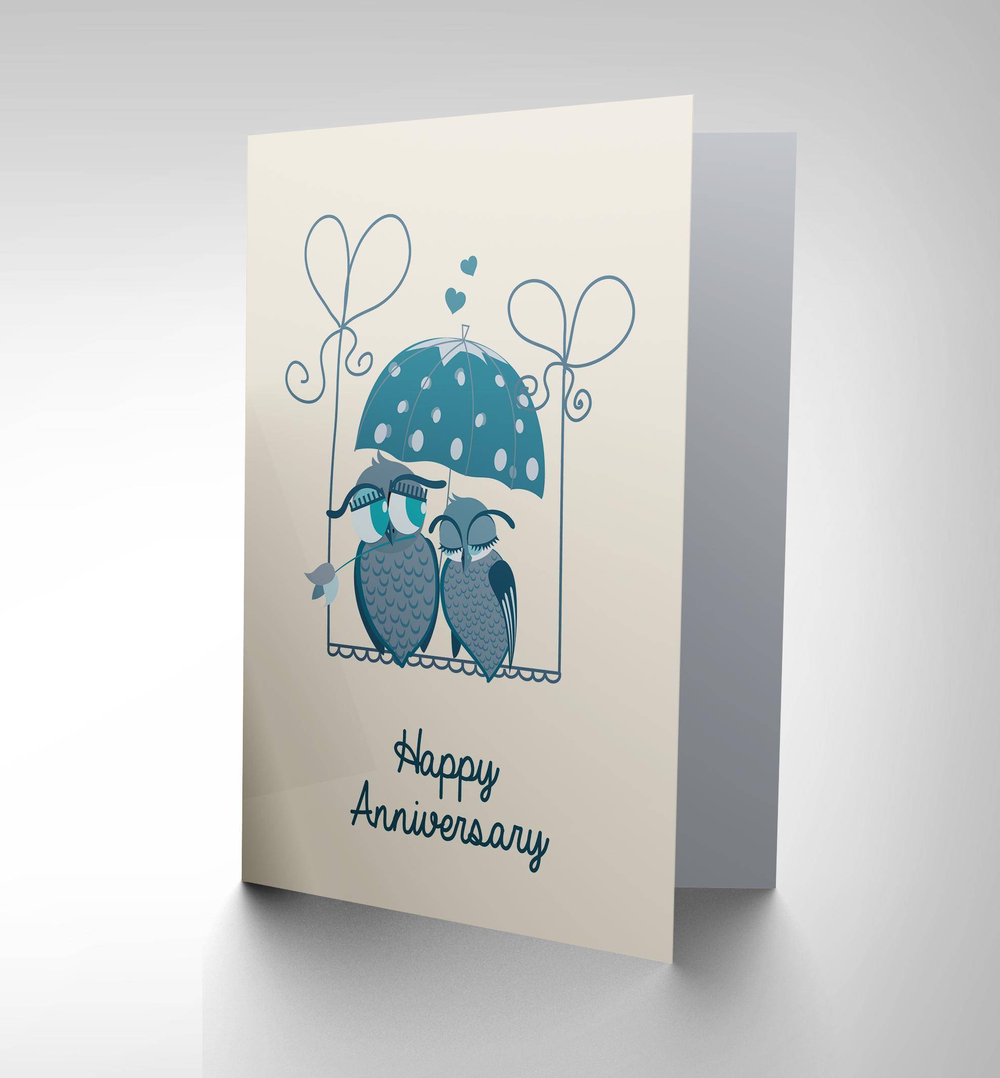 New wedding anniversary owls umbrella love art greeting