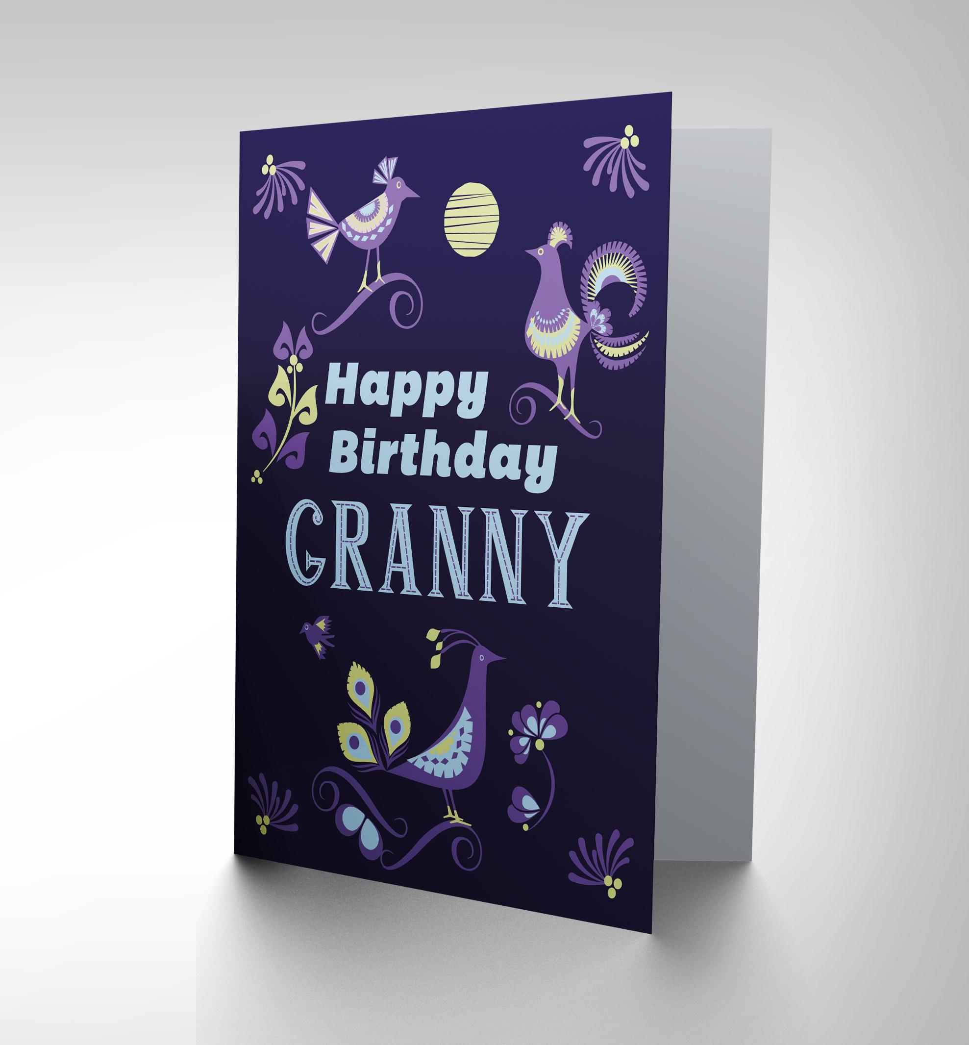 CARD BIRTHDAY HAPPY GRAN GRANNY BIRD LEAF ORNATE GIFT CP2683