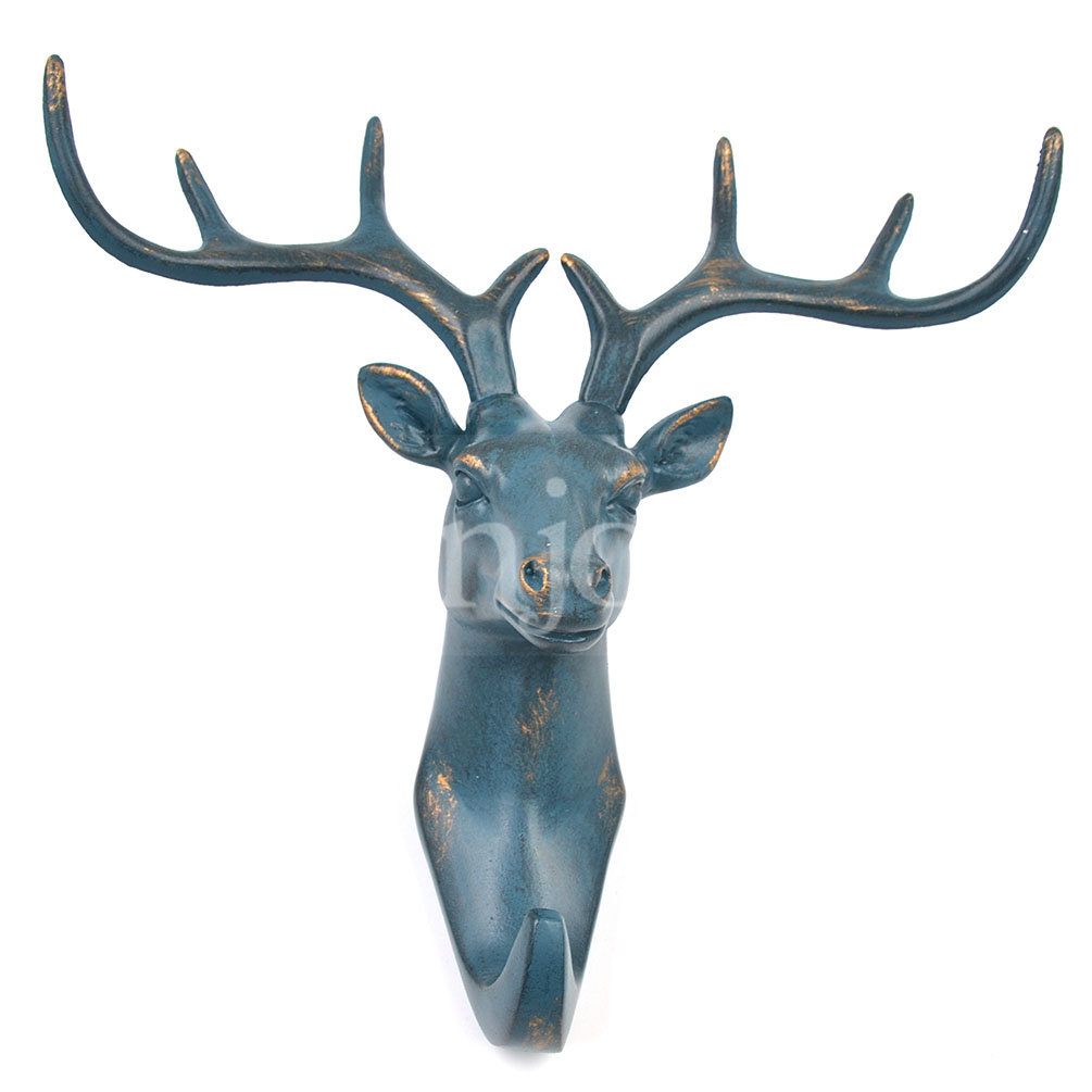 vintage deer head resin wall hook hat coat clothes hanger