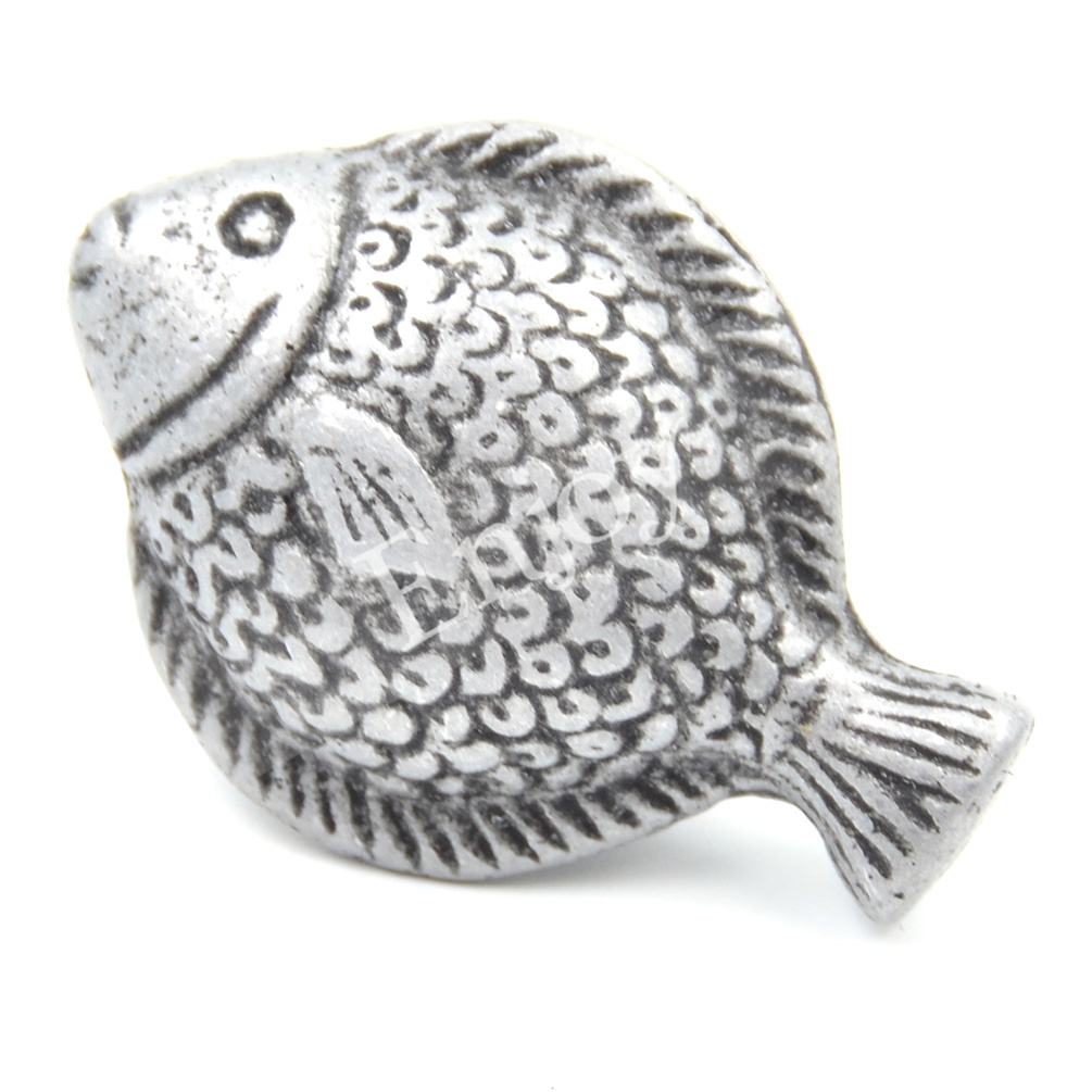 Antique fish shape pull handle cabinet knob alloy cupboard for Fish cabinet knobs