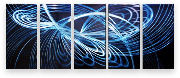Metal Wall Art Abstract Modern Contemporary Sculpture Painting Handmade Blue Ray 10312