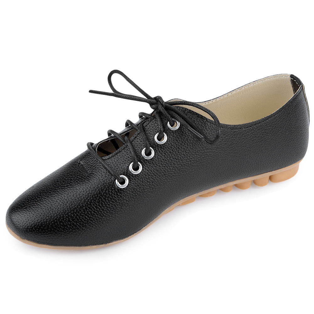Women Fashion Leather Lace Up Pointed Toe Comfort Flat Casual Oxford Shoes AUS | EBay