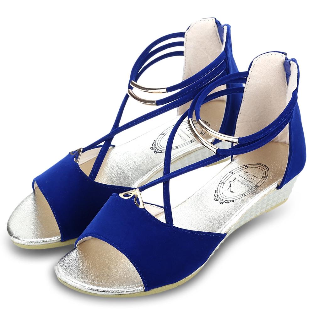 Ladies Women Flat Low Wedge Heel Zipper Sandals Ankle ...