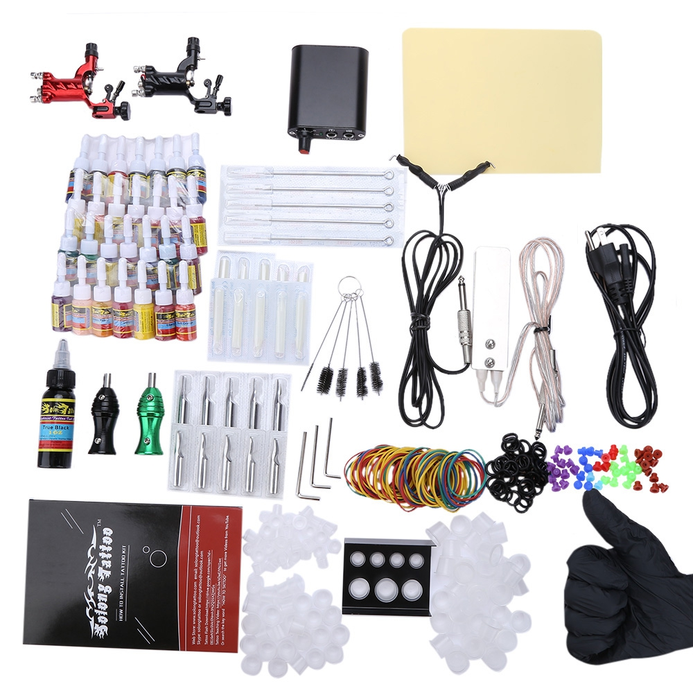 Tattoo kits 2 rotary machine guns power supply for for Tattoo supplies ebay