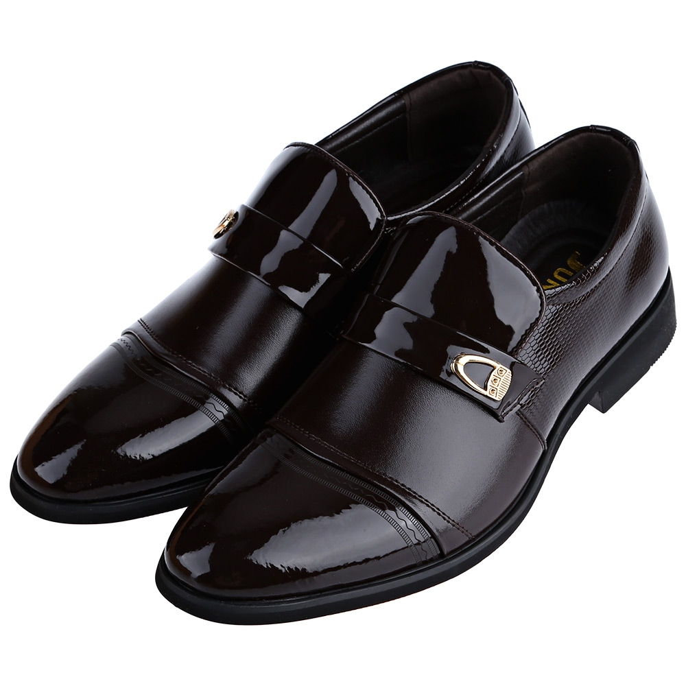 mens work business oxford leather shoes slip on dress