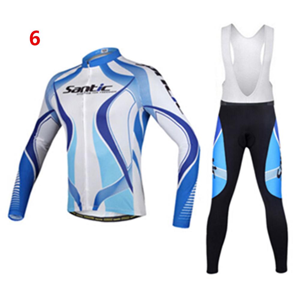 Woens Thermal Fleece Cycling Jersey Long Sleeve Bib Pants Set Cycling Pants P06