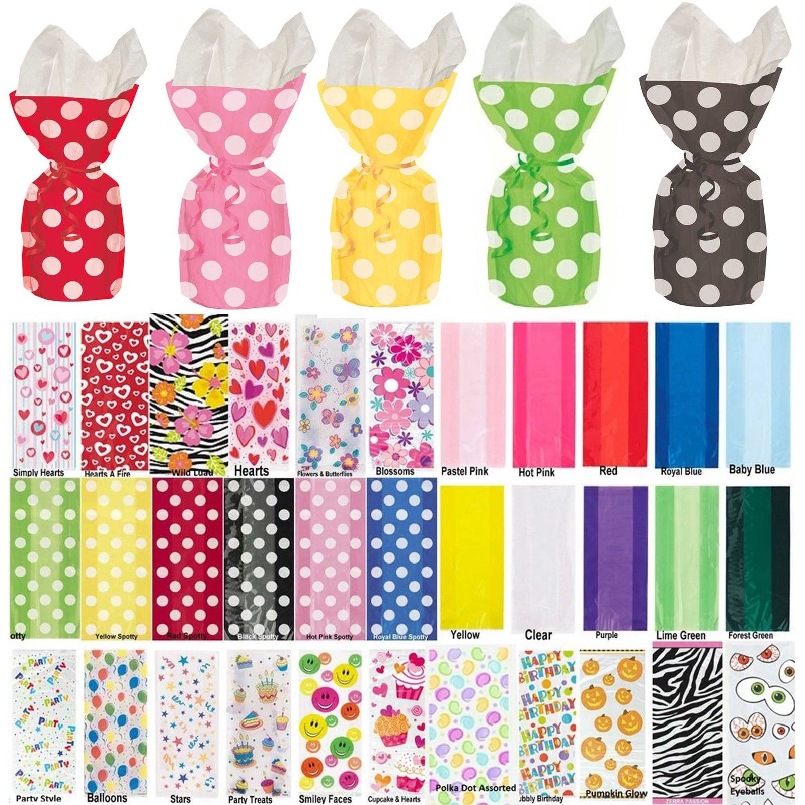 Cello Bags Party Cellophane Loot Bags Polka Dots Clear