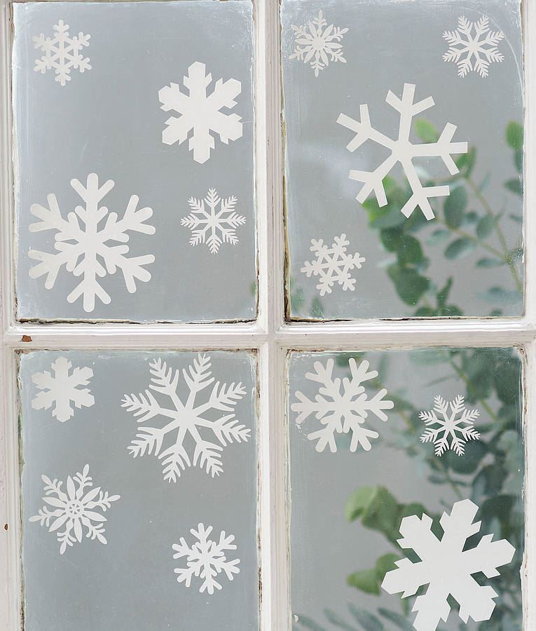 Christmas Snowflake Window Stickers With Glitter Xmas