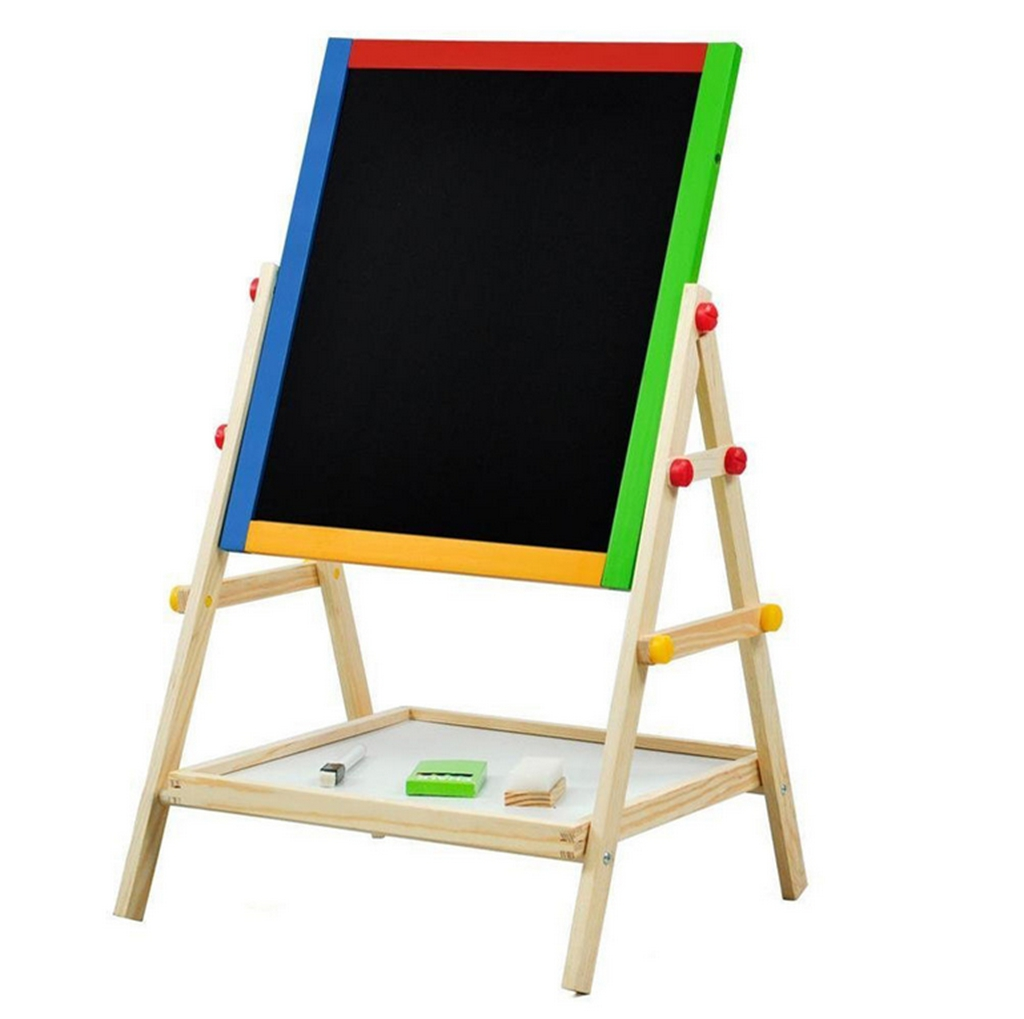Wooden Standing Easel For Kids Adjustable Double Sided Art