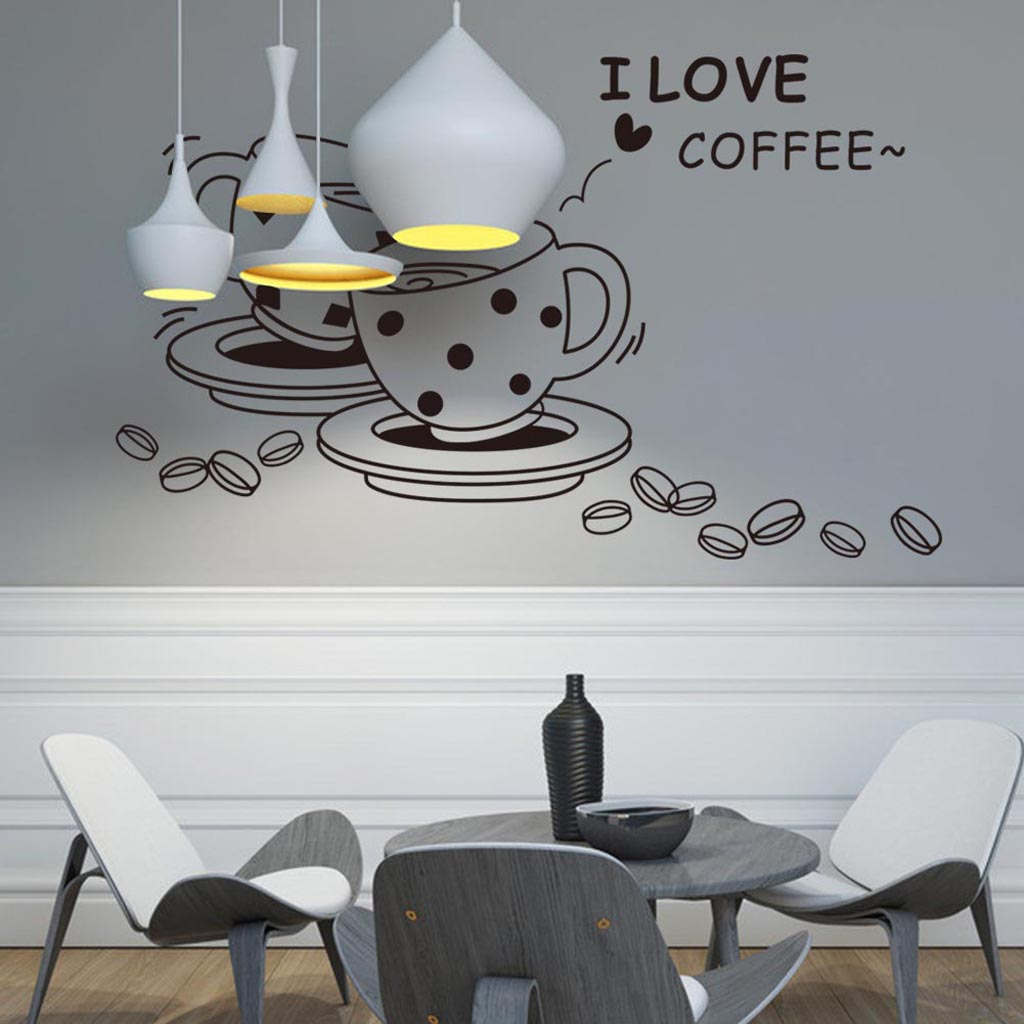 I love coffee cup and coffee beans window wall sticker for Home decor 2 love