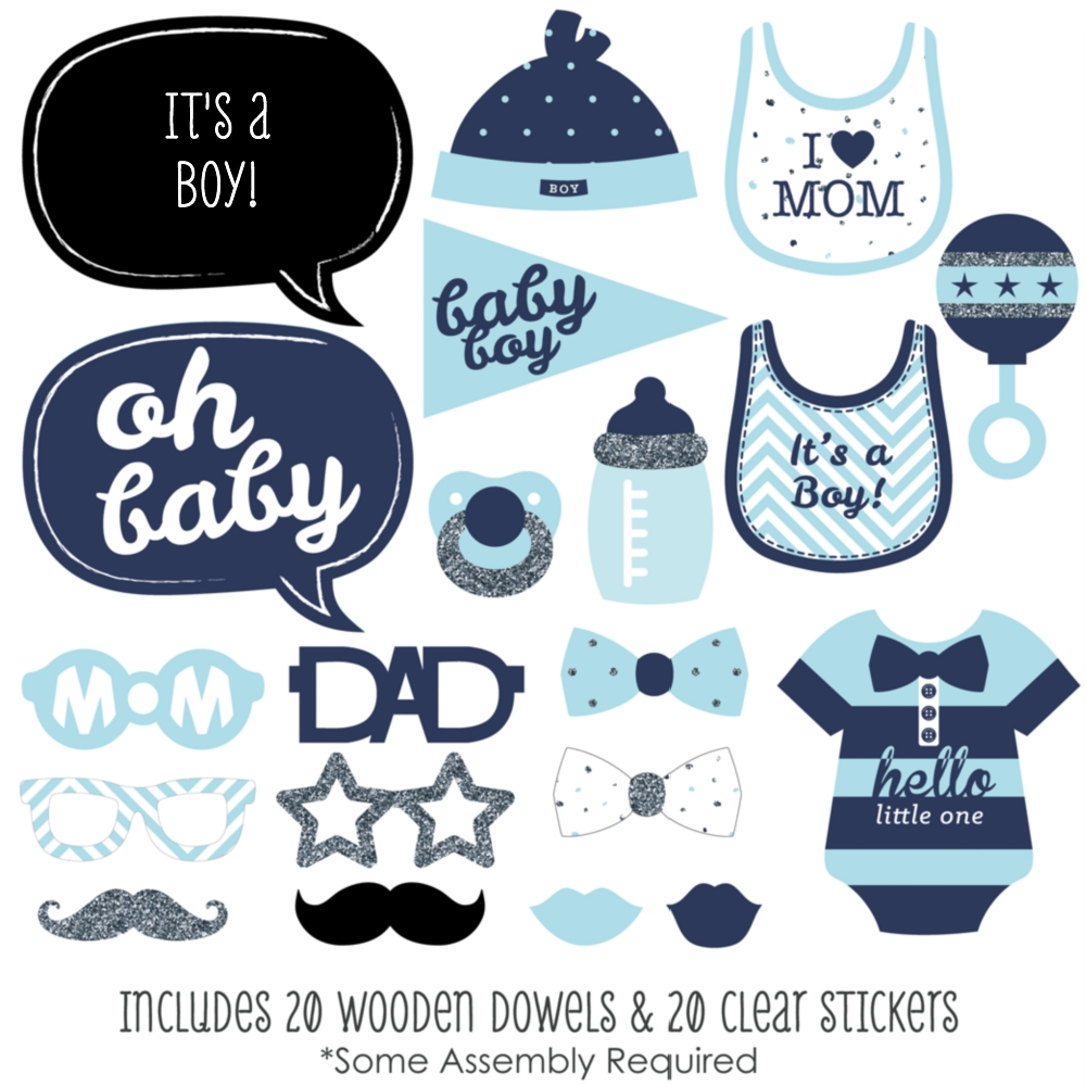 Hello Little One-Blue and Silver - Boy Baby Shower Photo ...