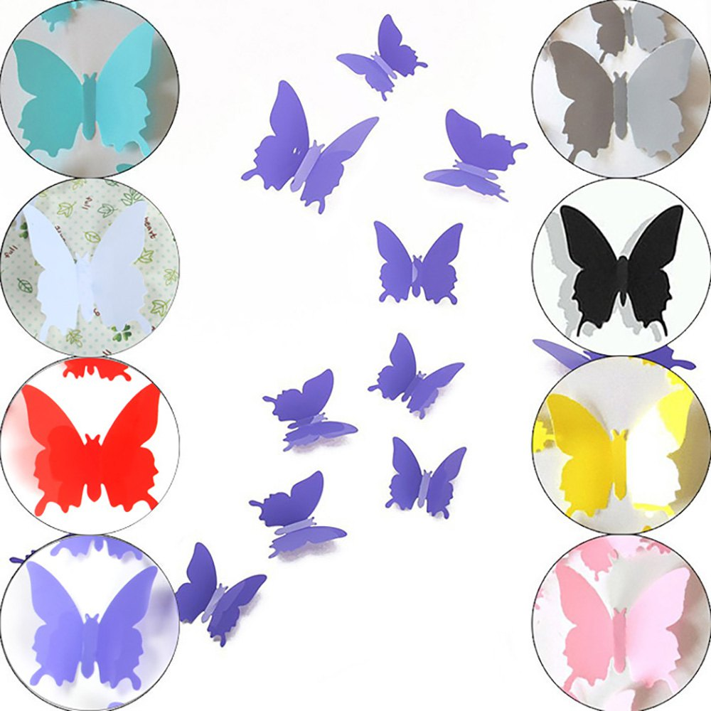 3d butterfly wall stickers turquoise blue art decal home diy kids decor 12pcs ebay. Black Bedroom Furniture Sets. Home Design Ideas