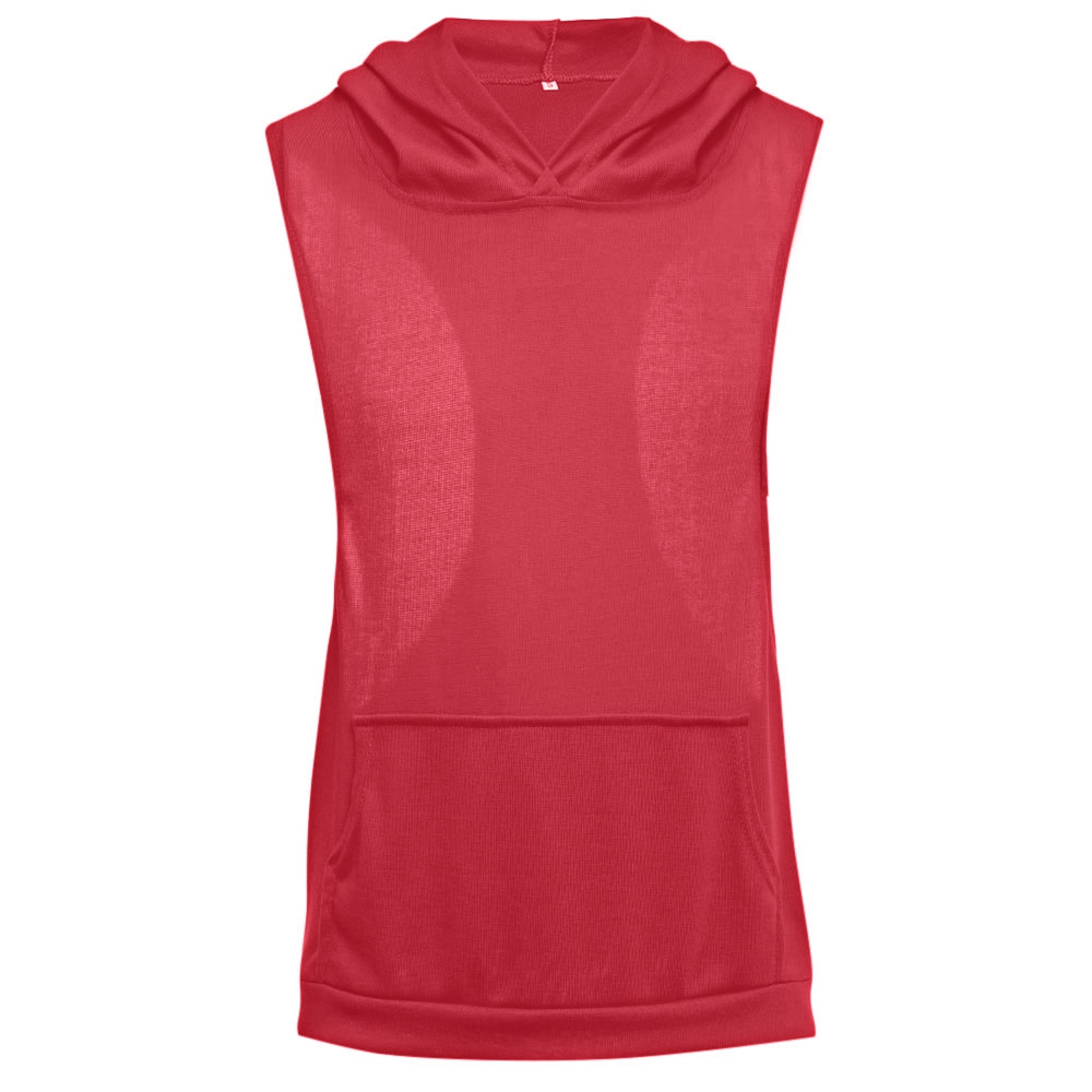 Design t shirt with front pocket - Simple Design Hooded Sleeveless Front Pocket Solid Color