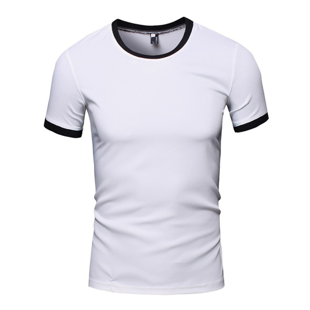 simple round collar short sleeve color block t shirt for