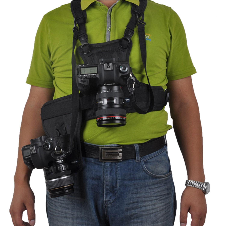 Multi Camera Carrier Harness Holster Vest Belt System For