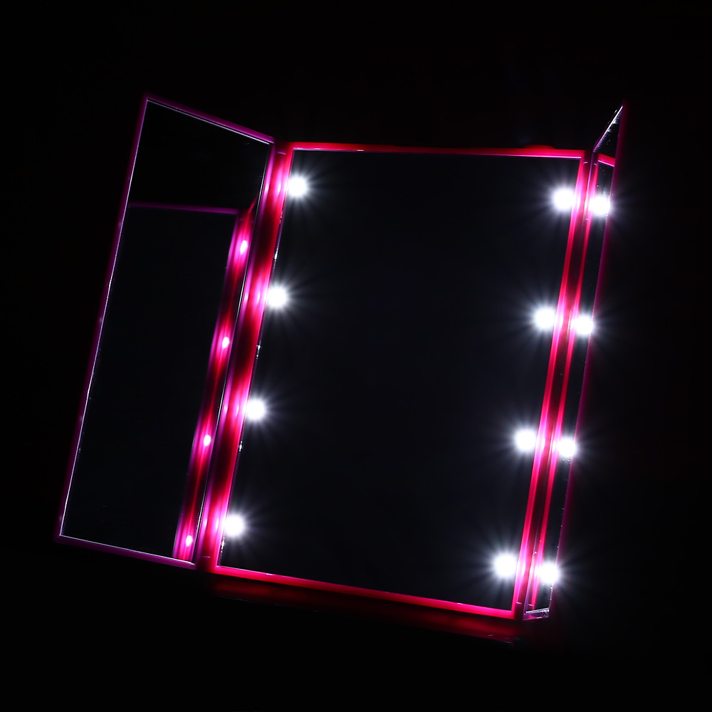 Trifold LED Vanity Lighted Makeup Mirror Cosmetic Vanity Mirror with Battery