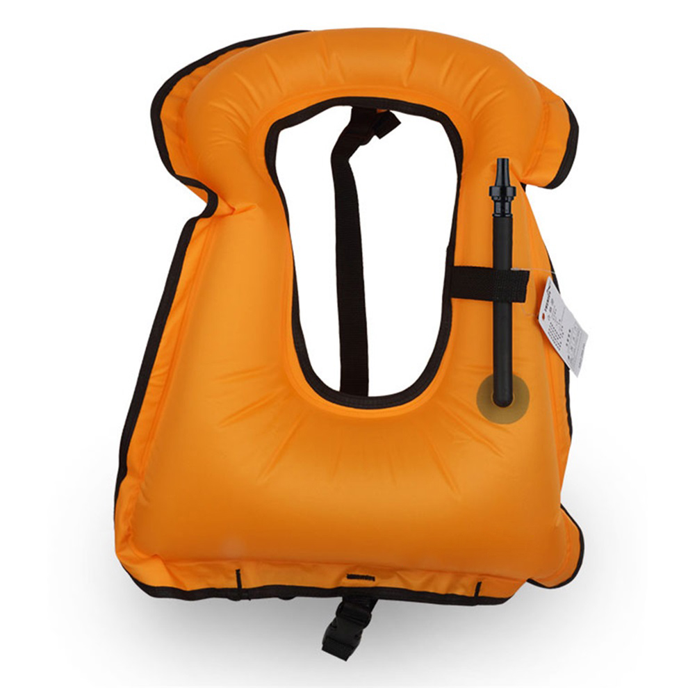 Adult inflatable life jacket vest for snorkeling surfing for Inflatable fishing vest