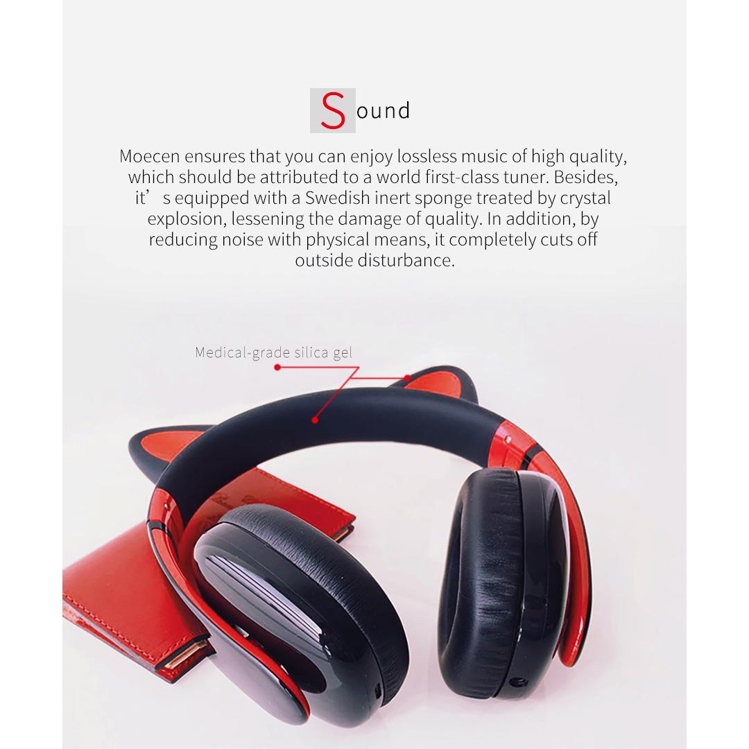 censi moecen music headset headphone cat ear stereo over. Black Bedroom Furniture Sets. Home Design Ideas