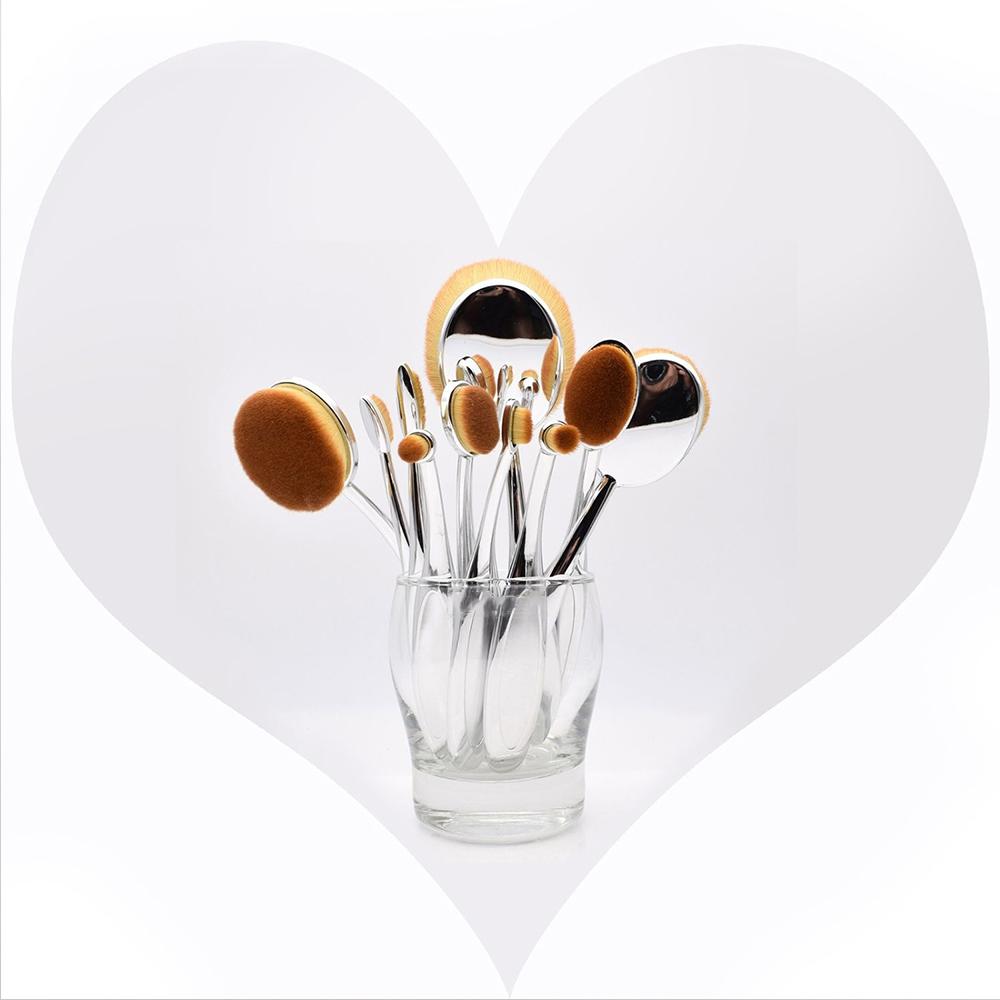 Hommii-10-X-Toothbrush-Makeup-Brushes-Eyebrow-Oval-Powder-Cream-Foundation-Brush