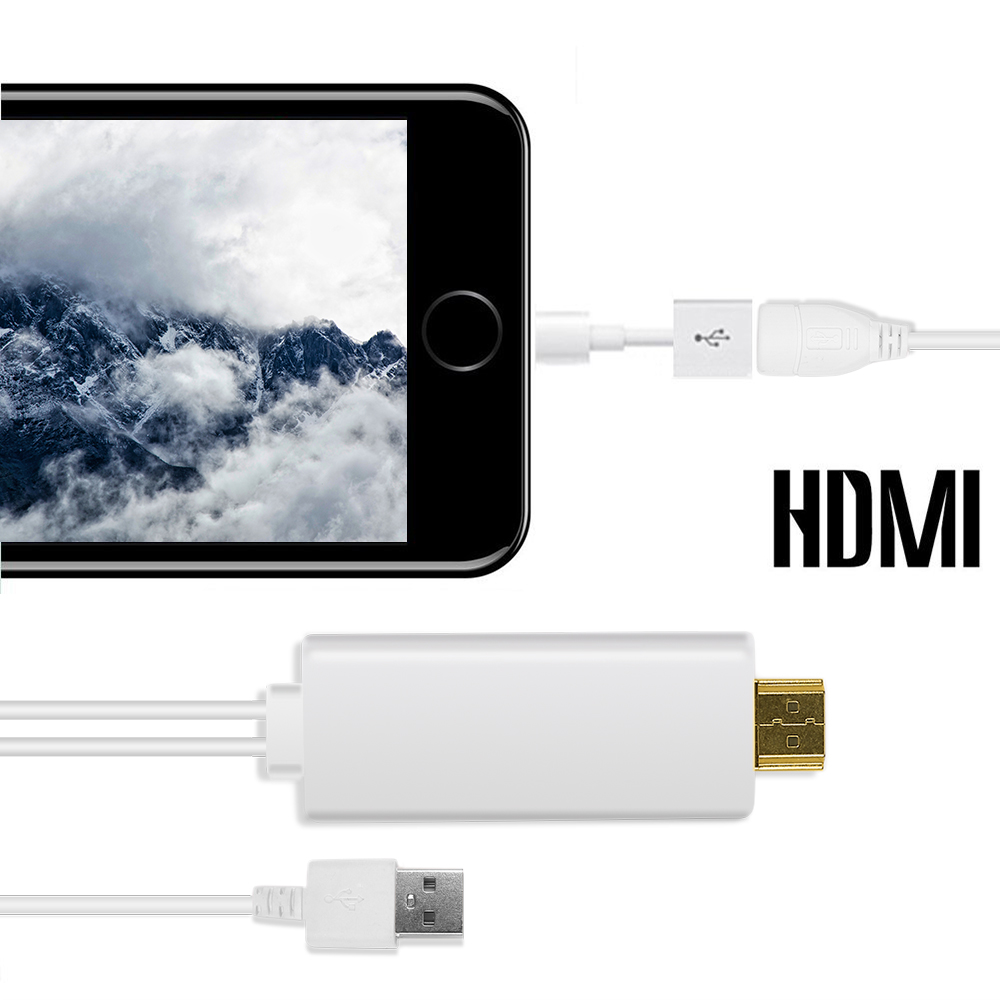 Hdtv hd mirroring adaptor cable lightning to hdmi adapter for Mirror iphone to tv