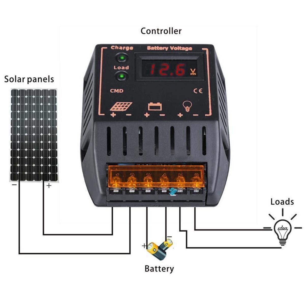 LCD 10/20A Solar Panel Batería Regulador Controlador de Carga 12/24V Nuevo LD474