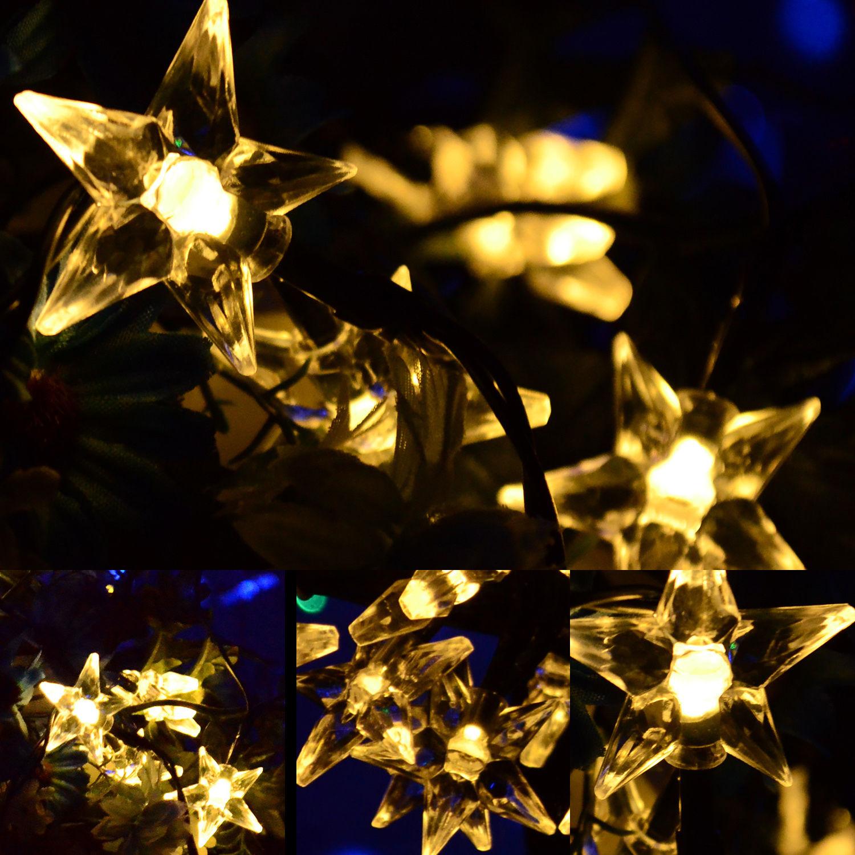 Solar Party String Lights Outdoor : Various Shape LED String Solar Light Outdoor Garden Xmas Party Fairy Tree Bulb eBay