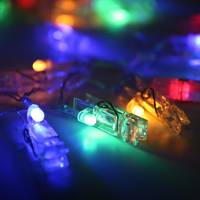 Battery Power Photo Peg Clothe Clip Shape 20 LED String Light Xmas Tree Decor eBay