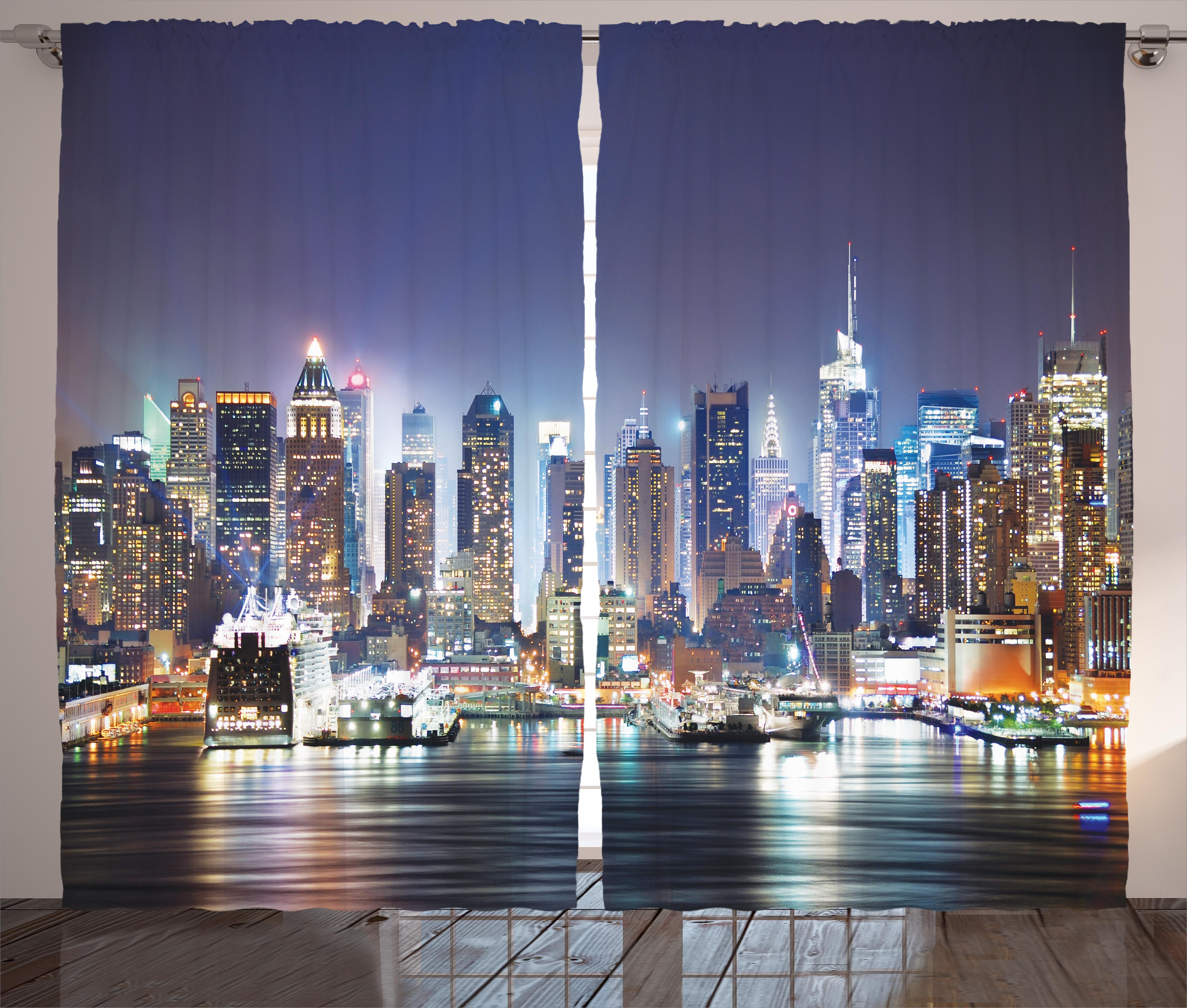 new york city manhattan at night nyc skyscraper art picture living room curtains. Black Bedroom Furniture Sets. Home Design Ideas