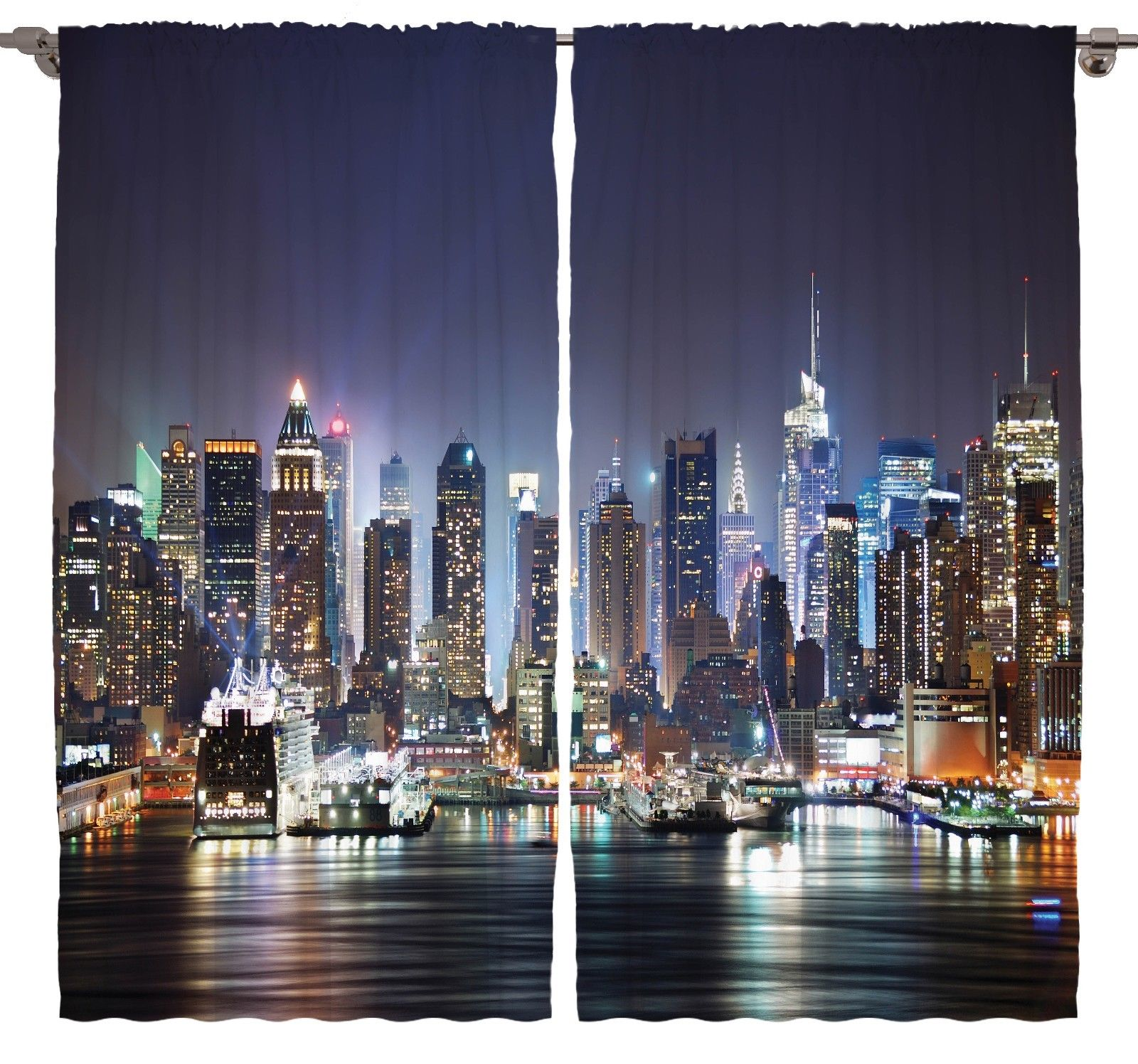 new york city manhattan at night nyc skyscraper art. Black Bedroom Furniture Sets. Home Design Ideas