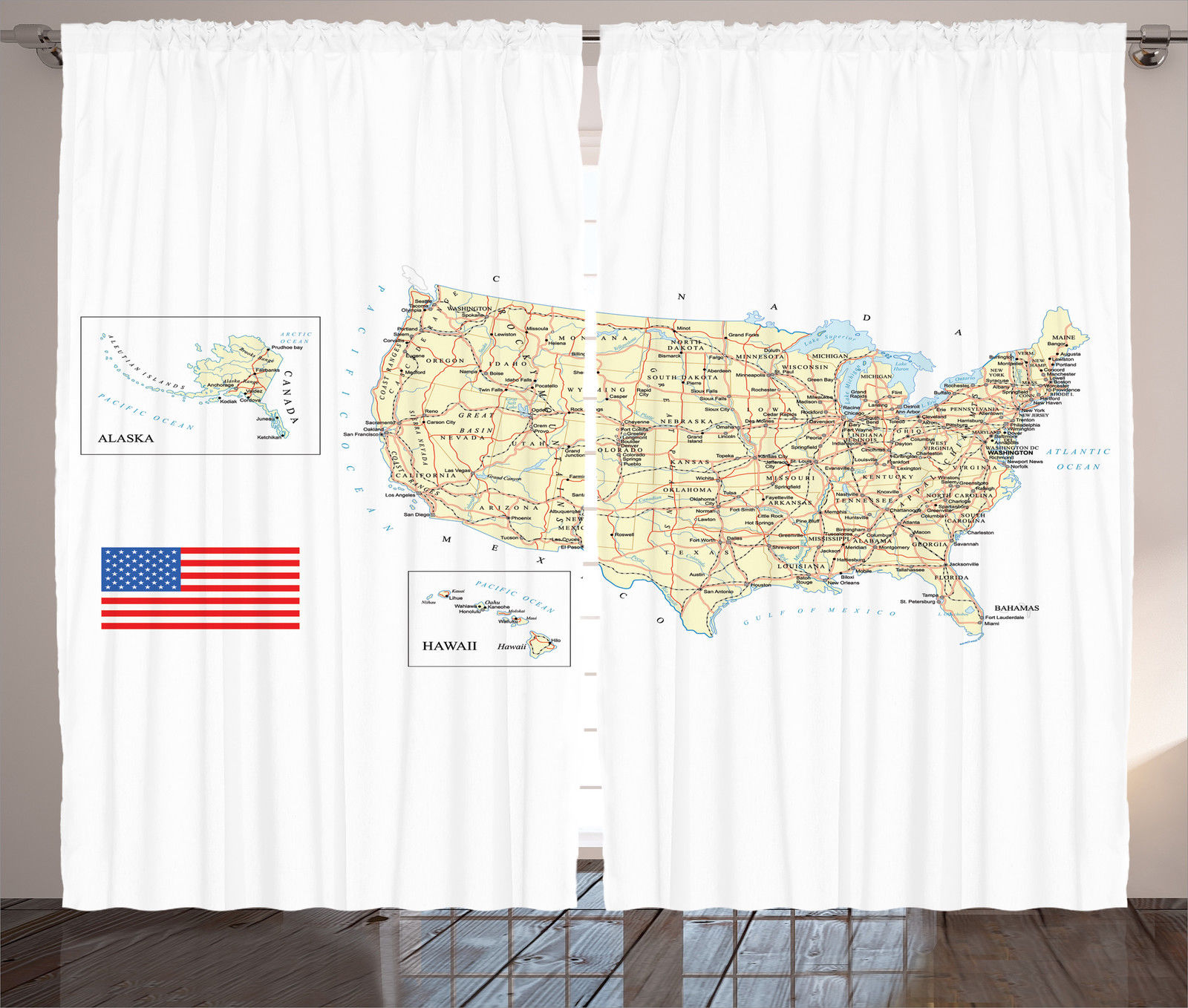 USA Country Map American Flag Vintage Designed Globe Print Curtain - Usa country map