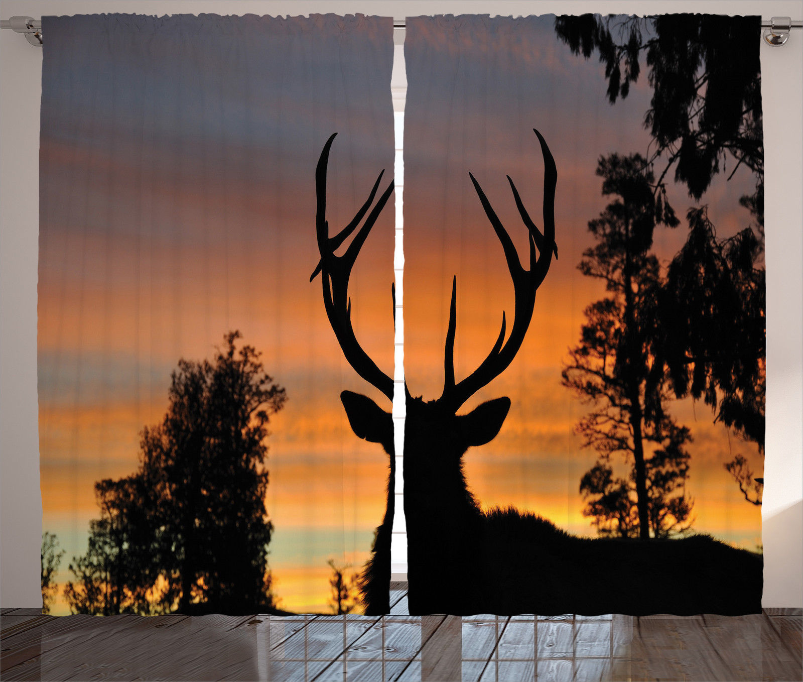Nature Themed Decor A Deer In Woods Wildlife Sunset Image