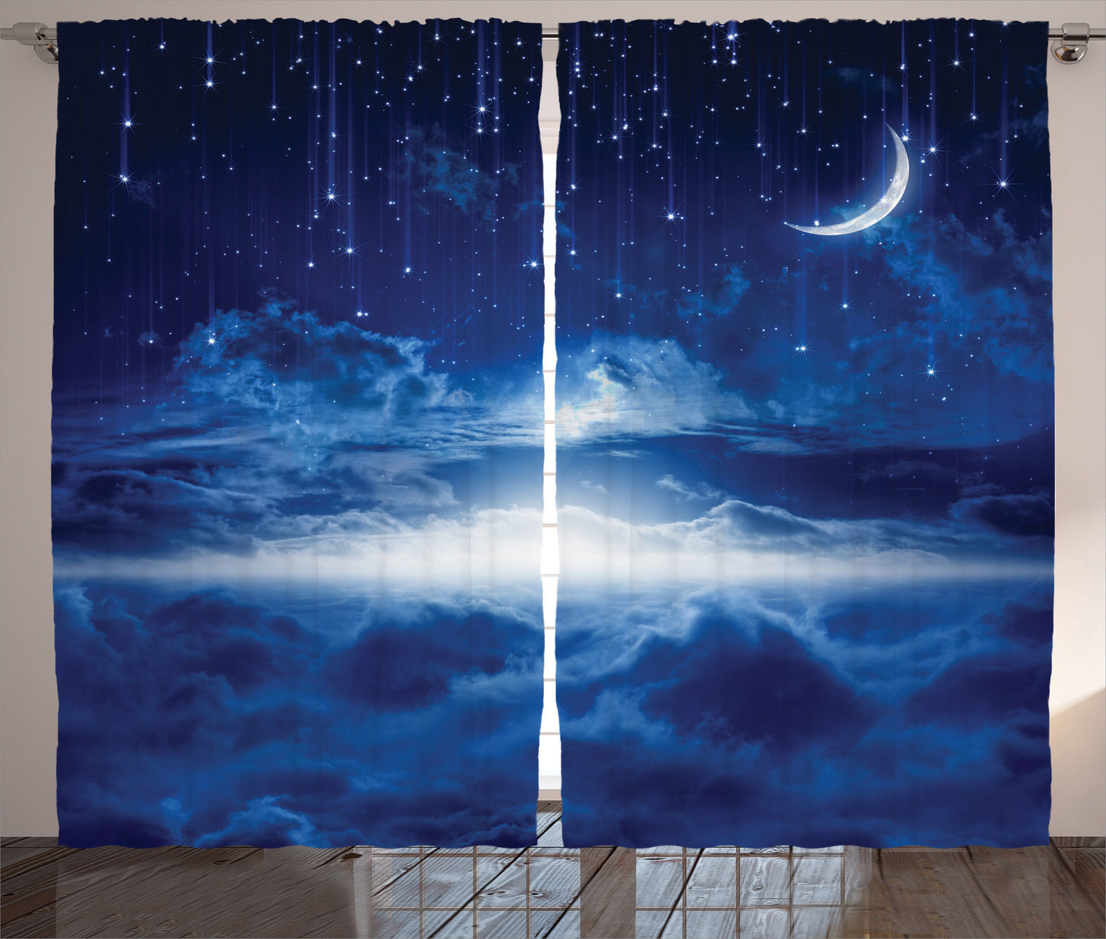 Night sky with moon shooting stars horizon space theme art for Space themed curtains