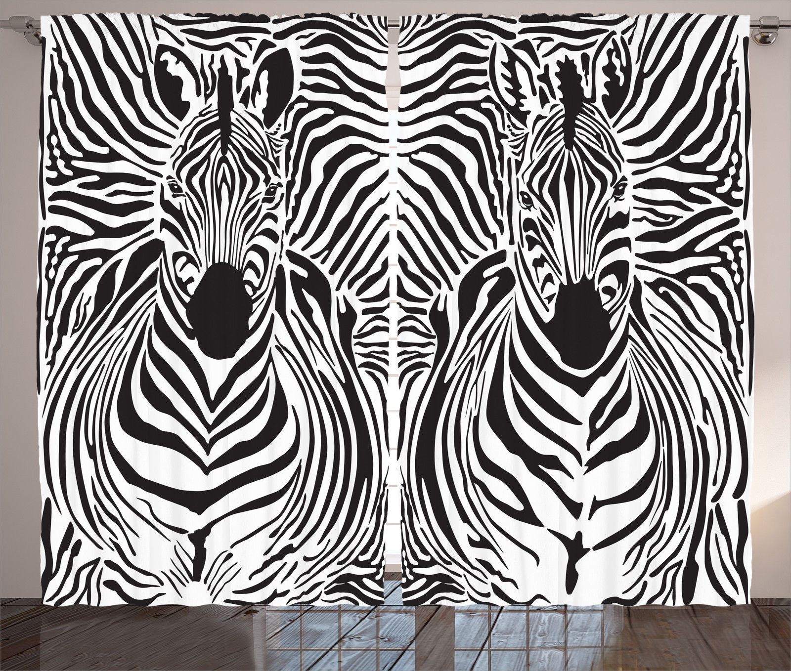 Zebra window curtains - Zebra Window Curtains Black White Animal Print 2
