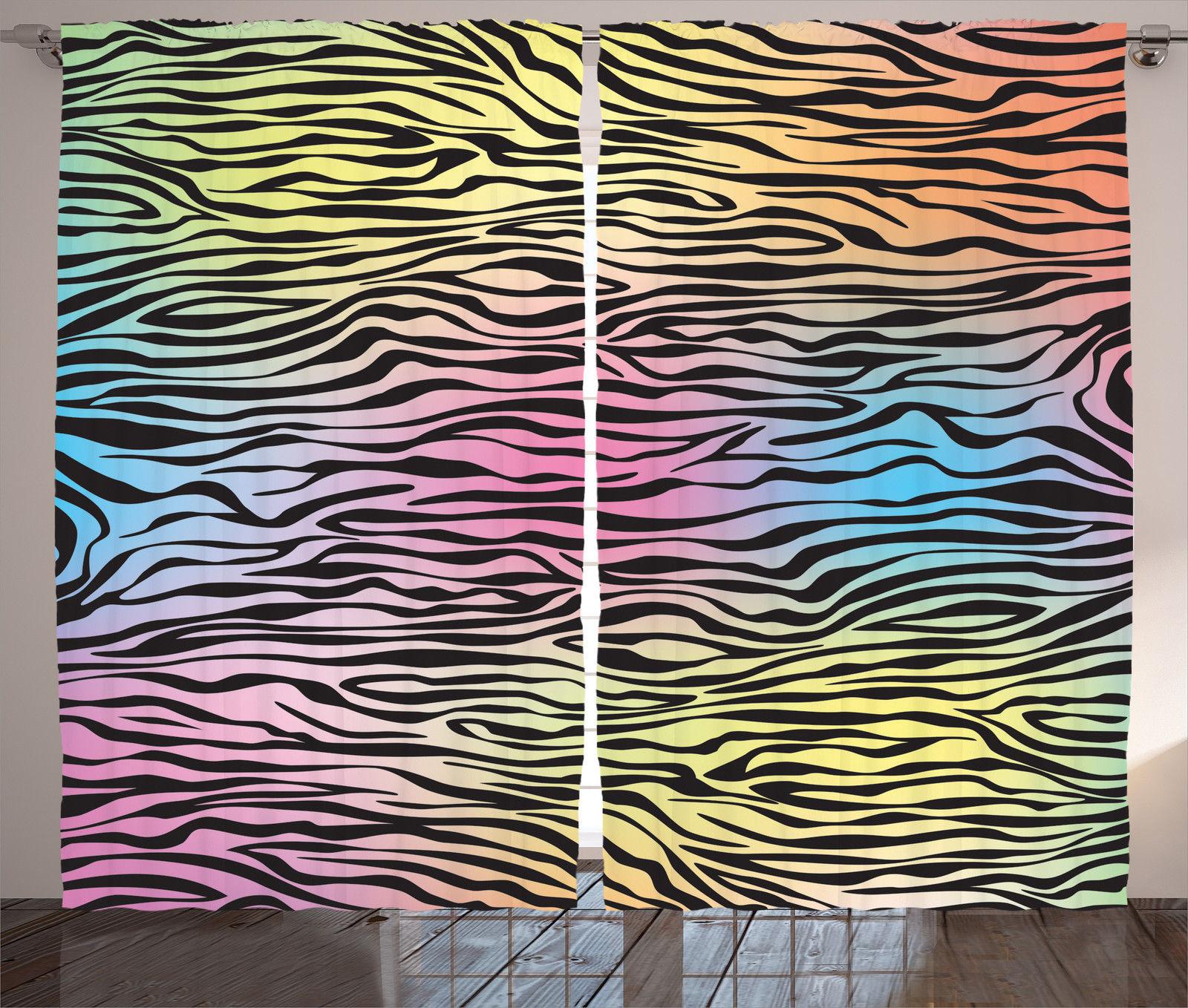 Zebra window curtains - Zebra Window Curtains Colorful Animal Print Pattern 2