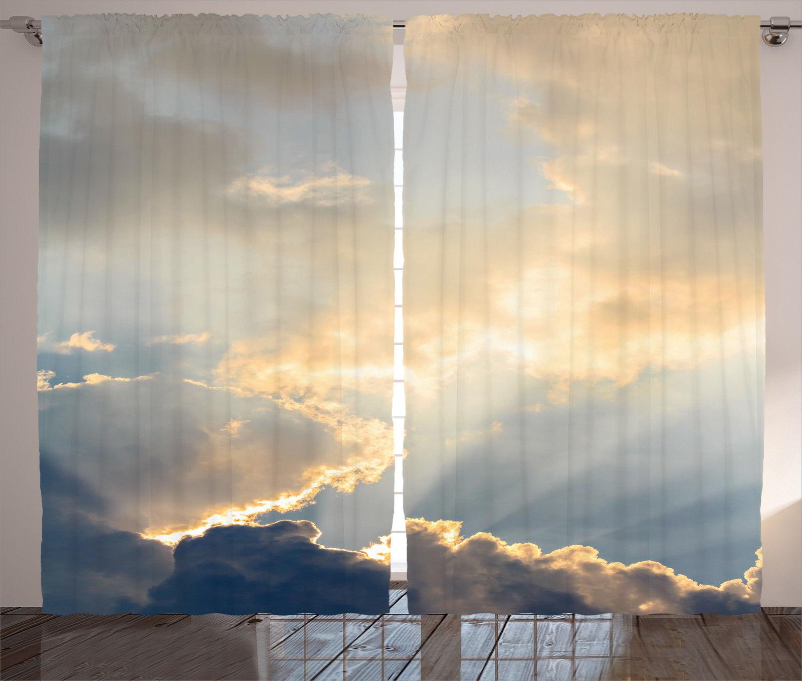 Cloud Window Curtains 3d Printing Nautical Home Decor: Scene Of Chair Under Sky Sea Coastal Nature Horizon Print