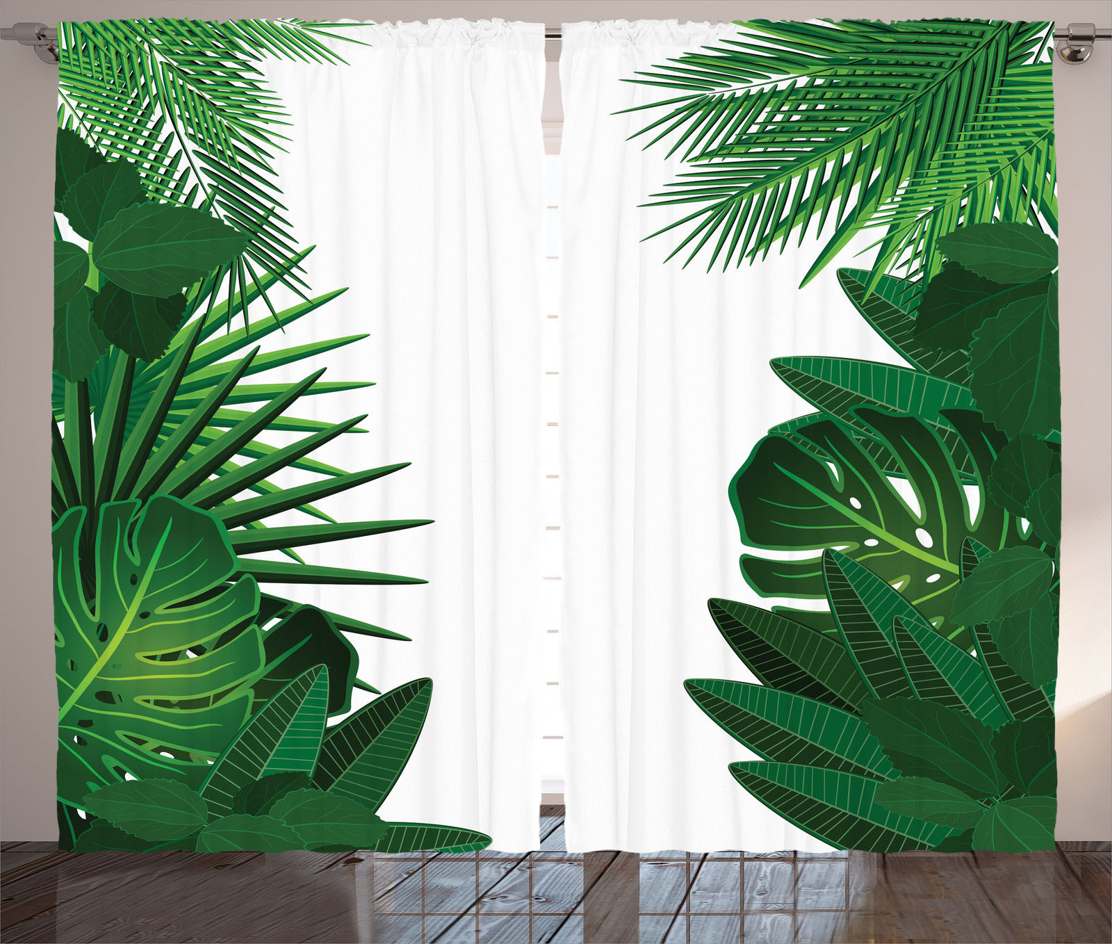 Exotic Hawaiian Tropical Palm Leaves Floral Style Graphic