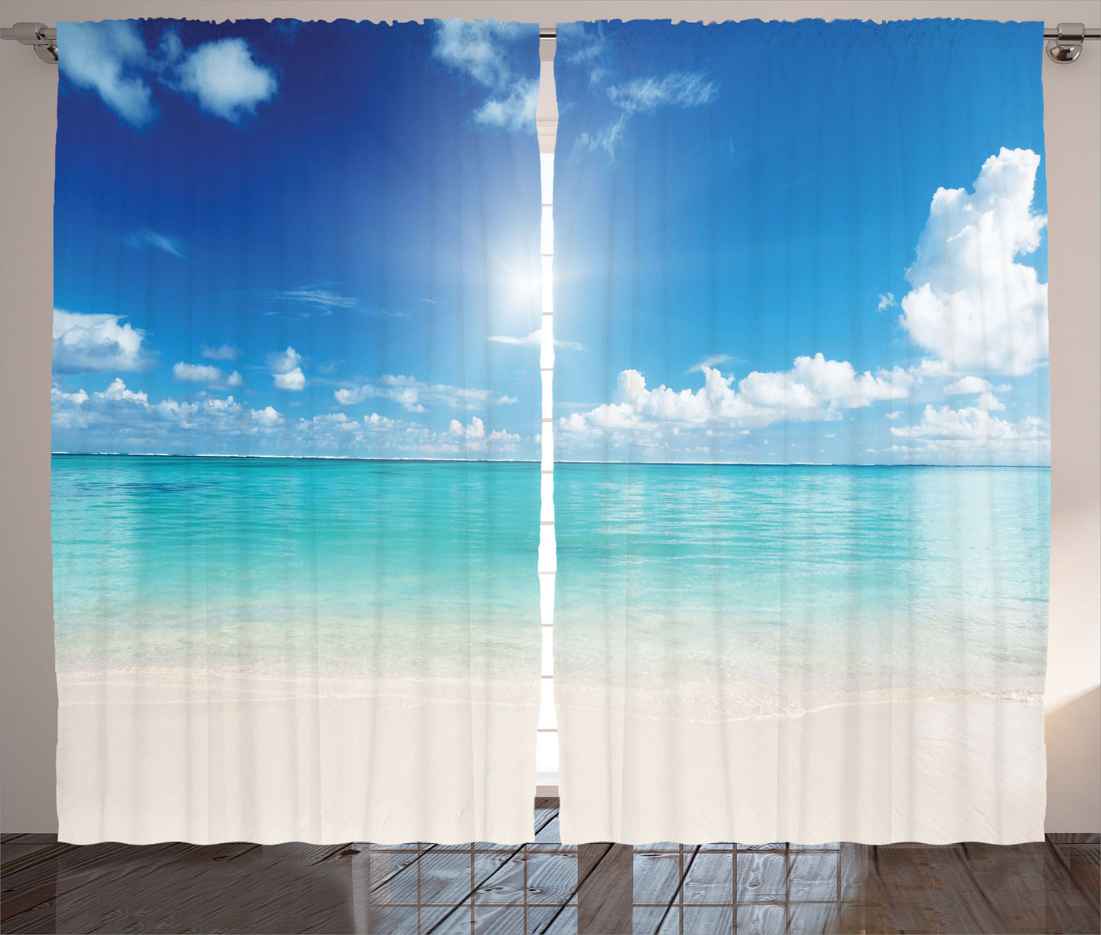Cloud Window Curtains 3d Printing Nautical Home Decor: Beach Landscape Golden Sand Tropical Sun Hot Heaven Print