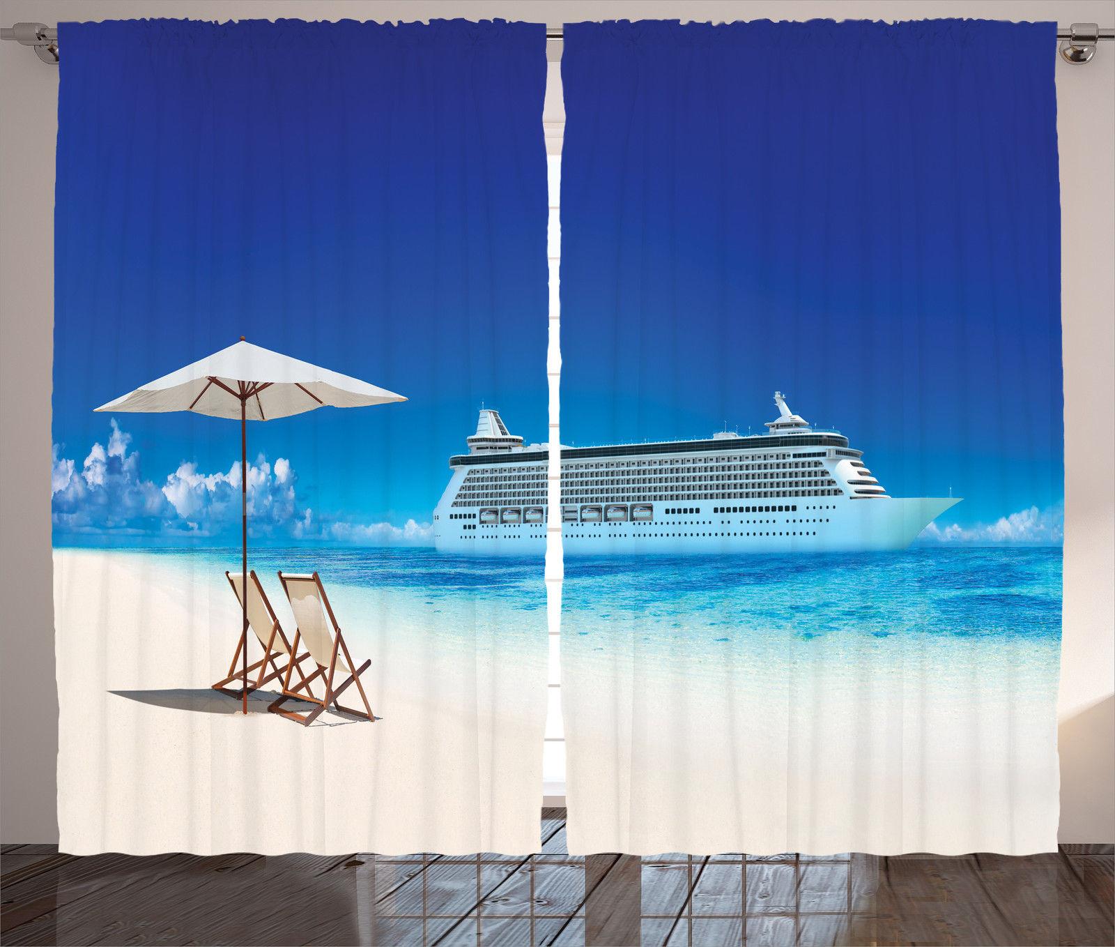 Cloud Window Curtains 3d Printing Nautical Home Decor: Ocean Beach Cruise Ship Nautical Decor Great Outdoor Image