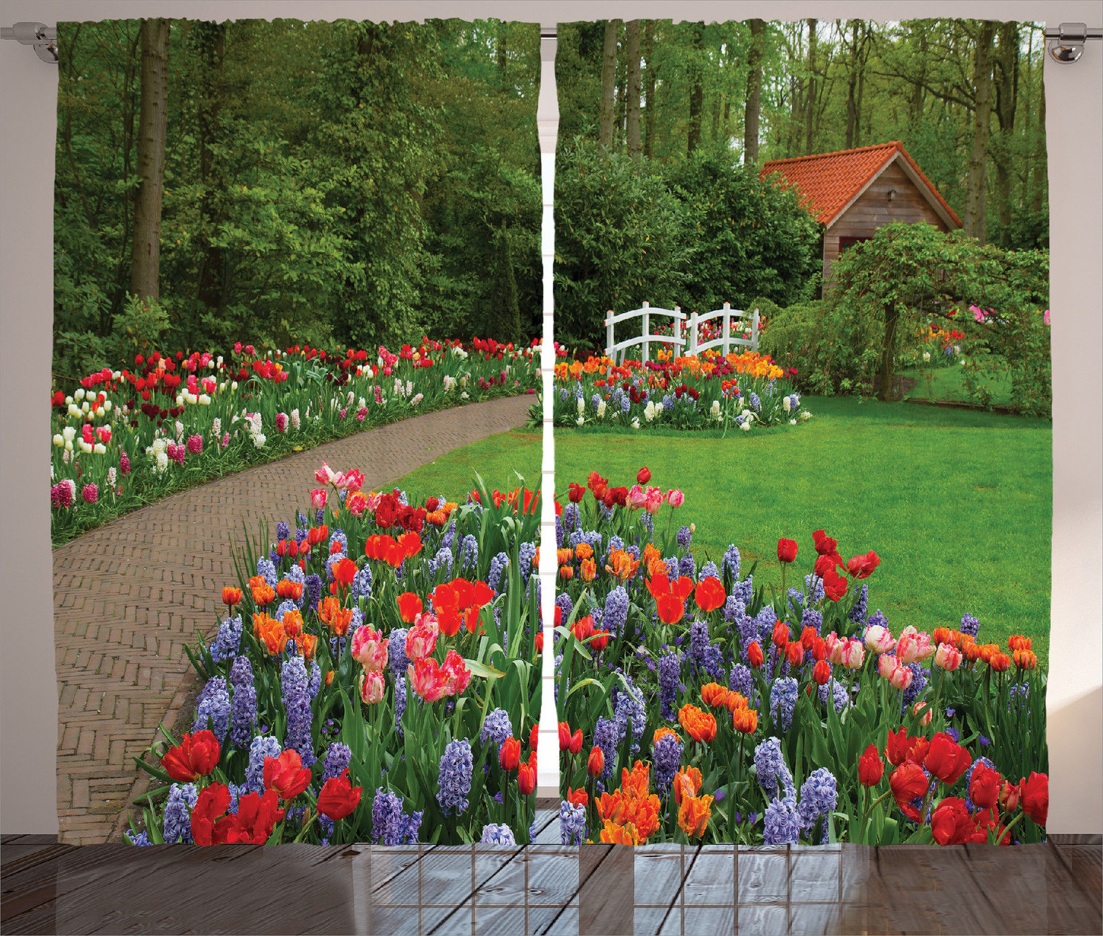 Spring garden and forest hut bridge plants flowerbed print for Garden hut sale