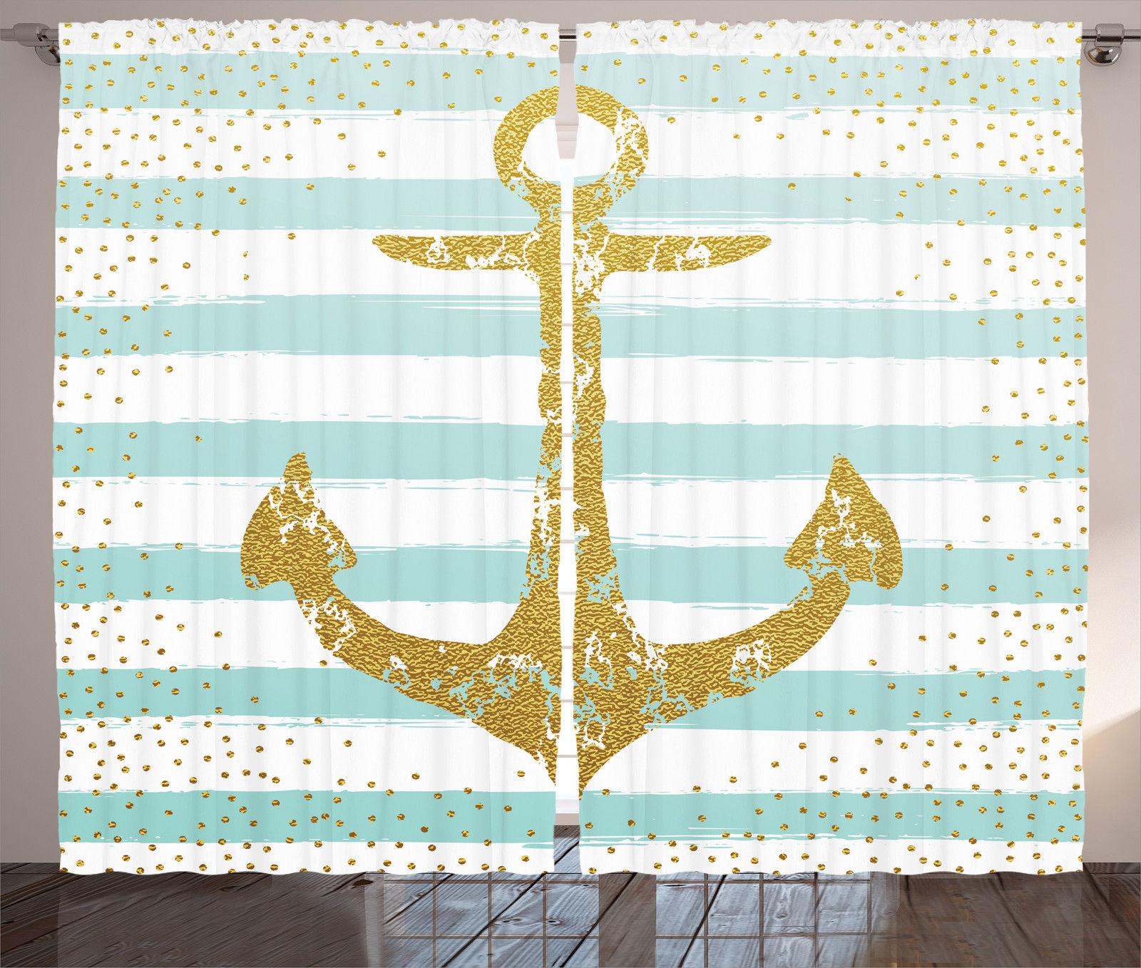 Nordic Marine Golden Anchor Striped Pattern Nautical Decor