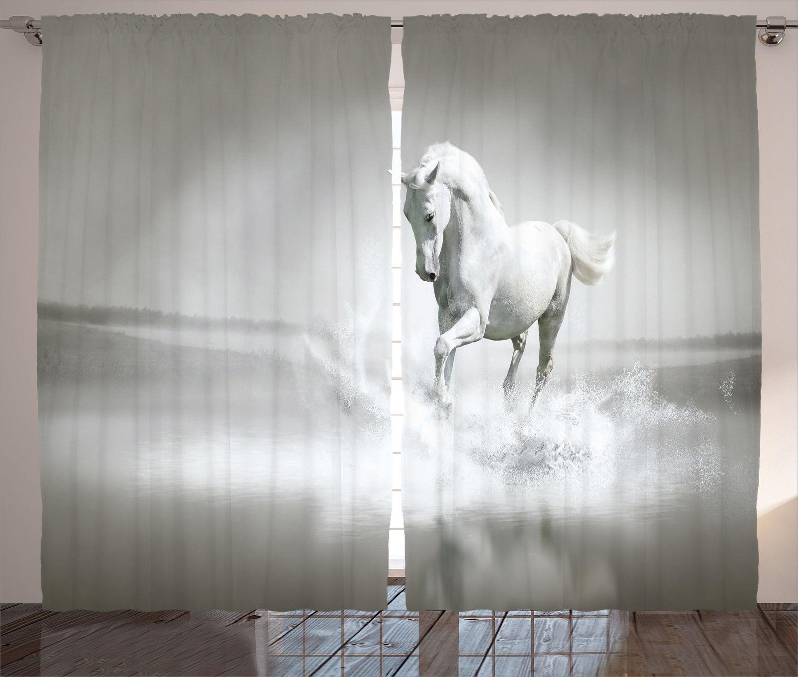 Cloud Window Curtains 3d Printing Nautical Home Decor: Horse Running Through Water Motivation Life Wild Animals